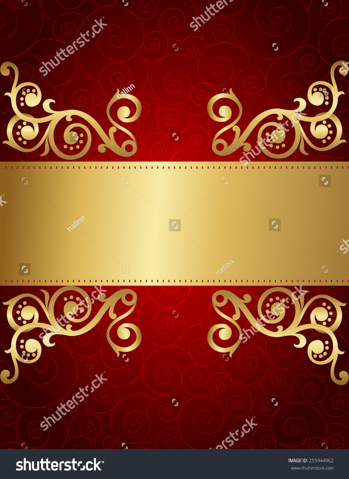 Elegant Red And Golden Decorative Background For Wedding Party Invitations