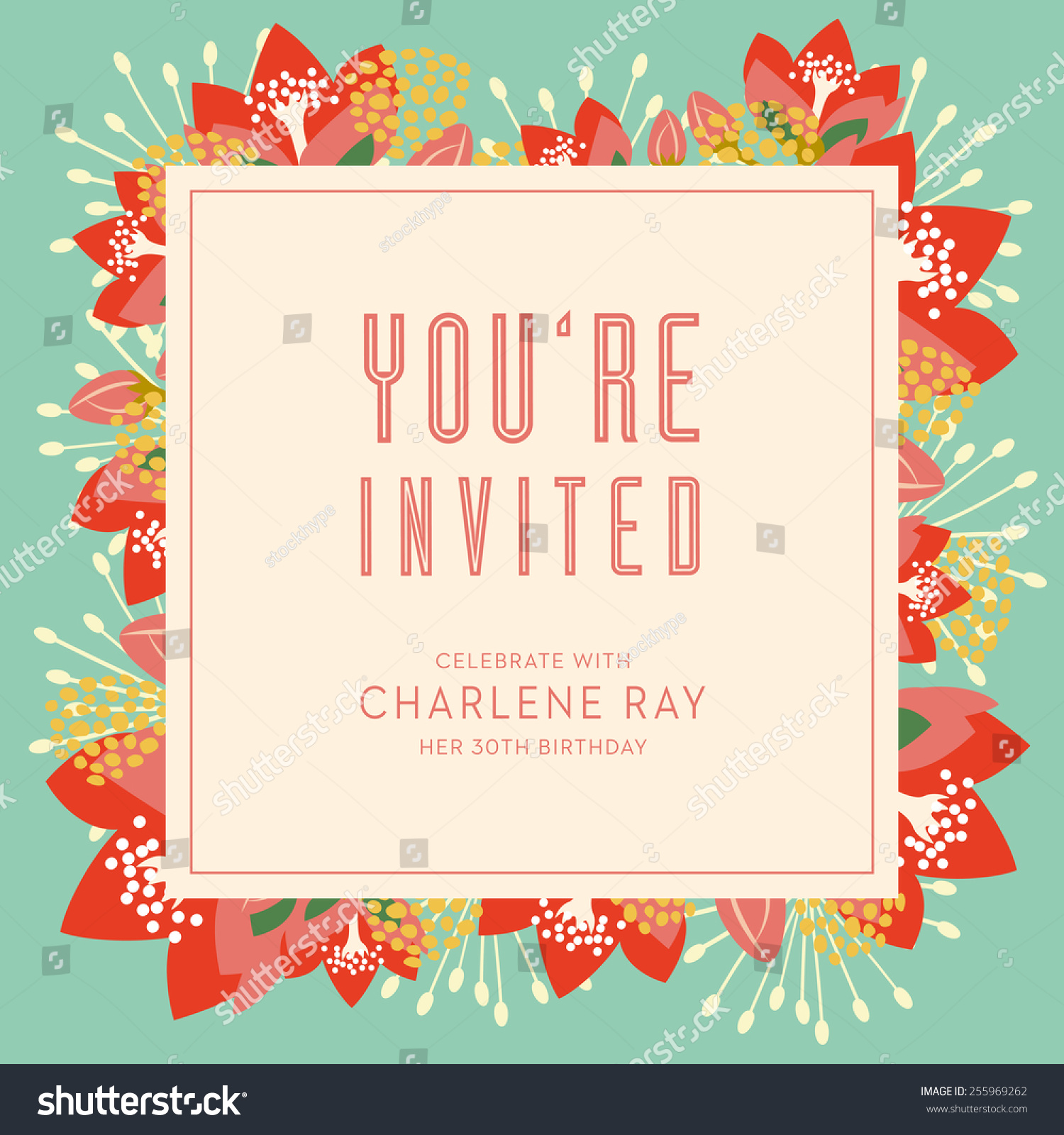 Birthday Invitation Card With Text And Floral Background It Can Be Used For Your