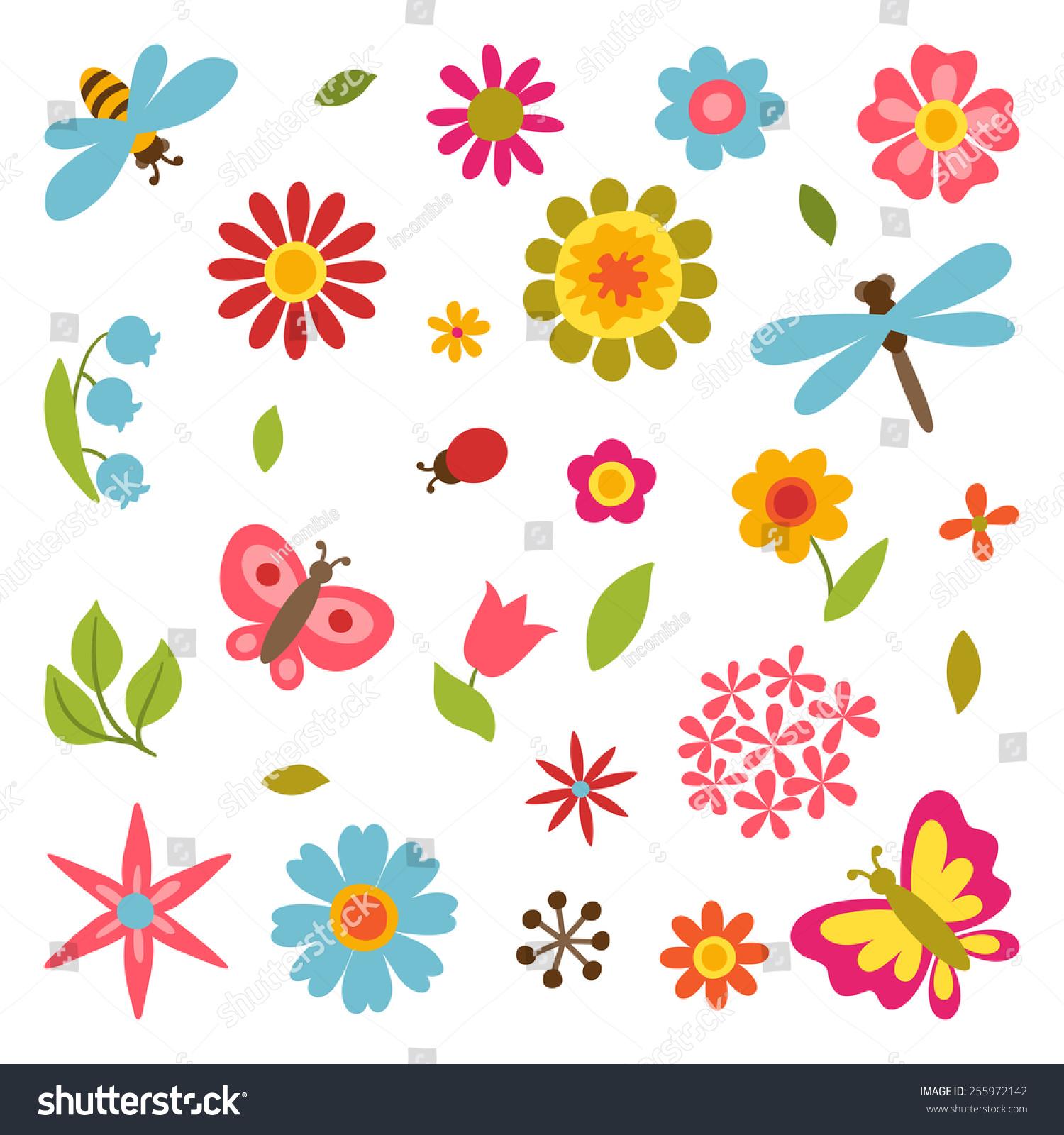 natural set beautiful simple flowers beetles stock vector