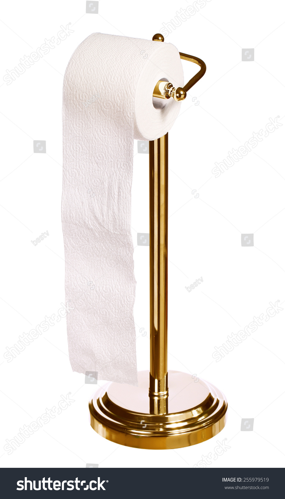 Gold toilet paper holder standing isolated stock photo 255979519 shutterstock - Gold toilet paper holder stand ...