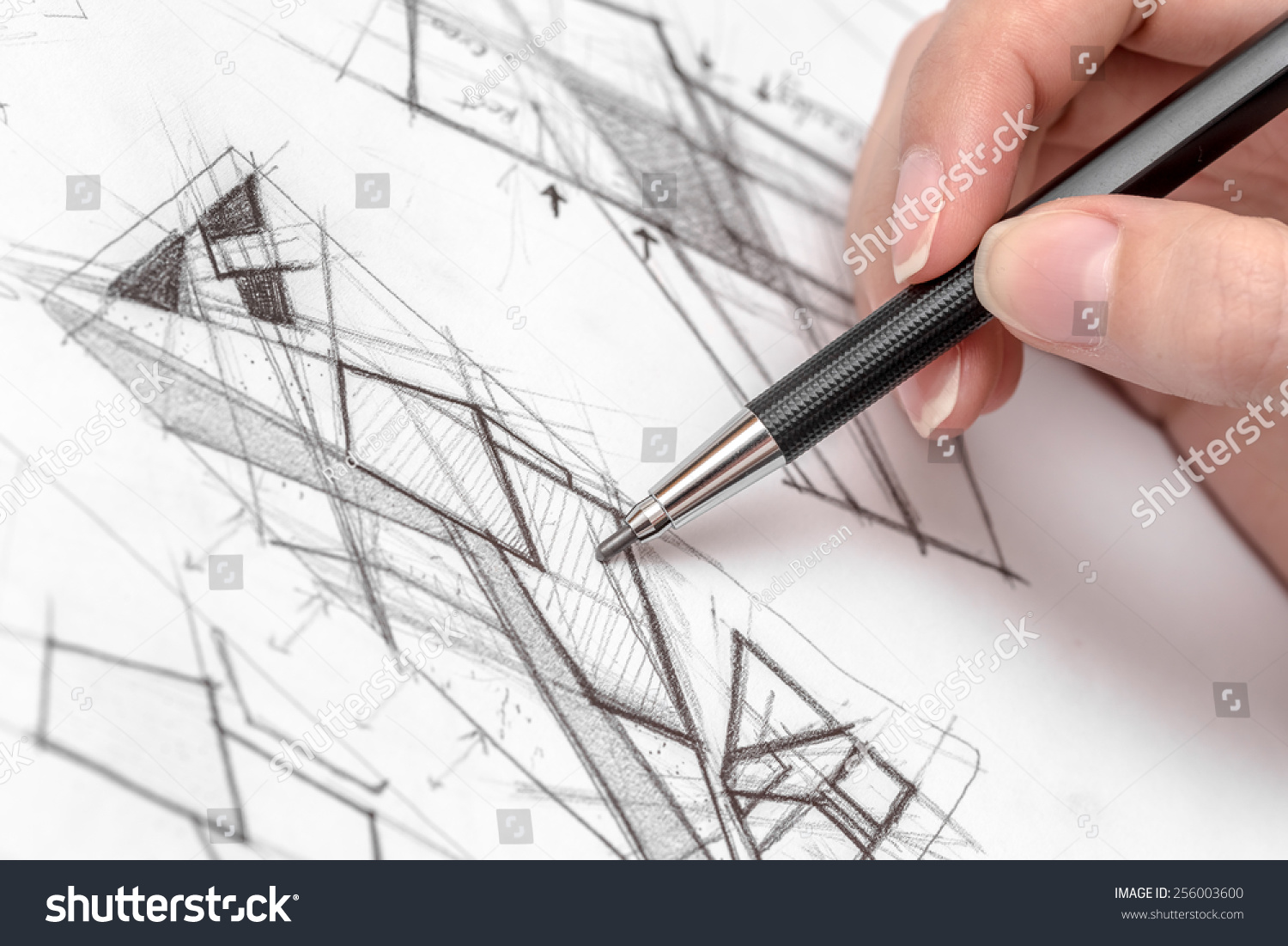 ^ rchitect Hand Drawing House Plan Sketch Stock Photo 256003600 ...