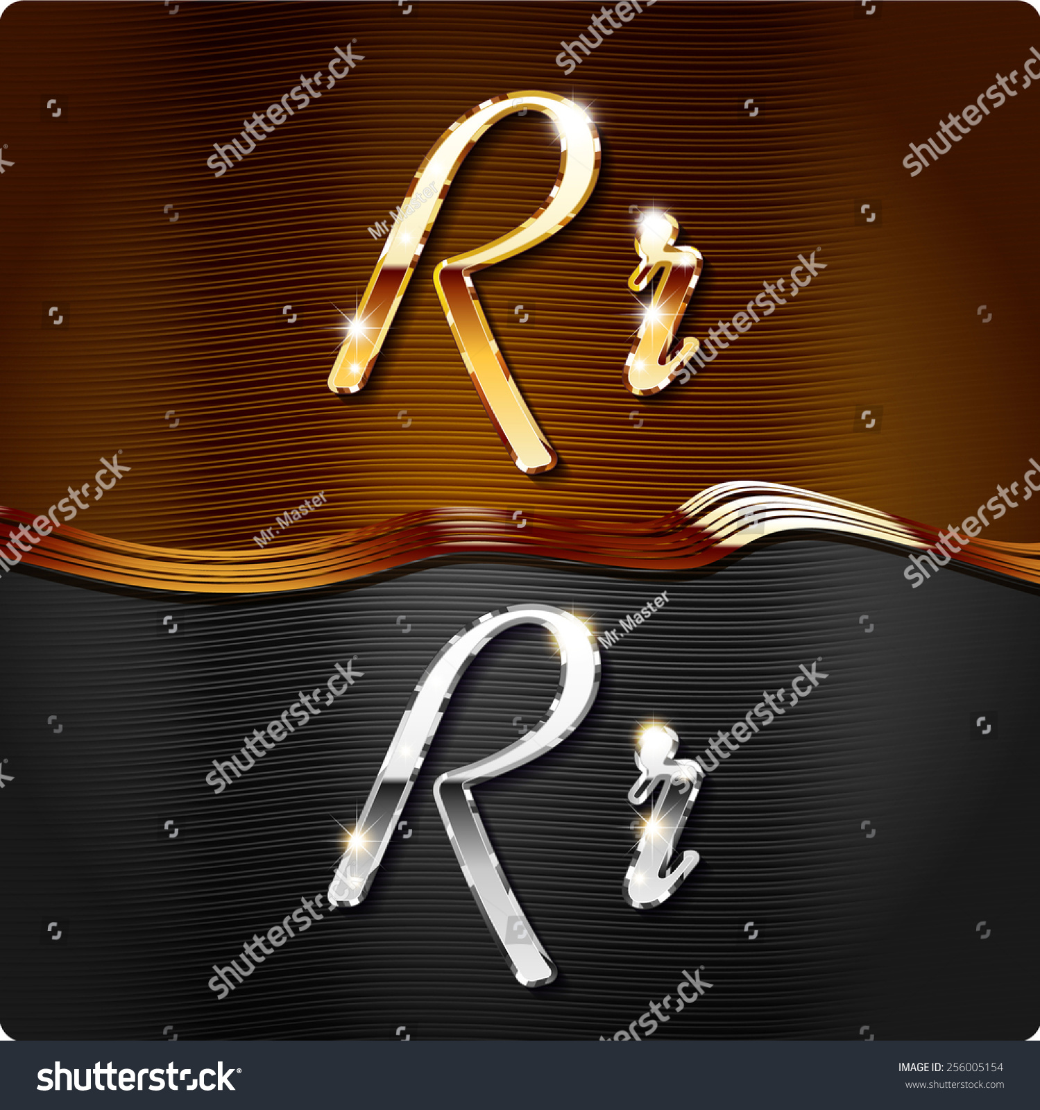 Golden stylish italic letters and italic metal letters of the alphabet   Capital letter  R. Golden Stylish Italic Letters Italic Metal Stock Vector 256005154