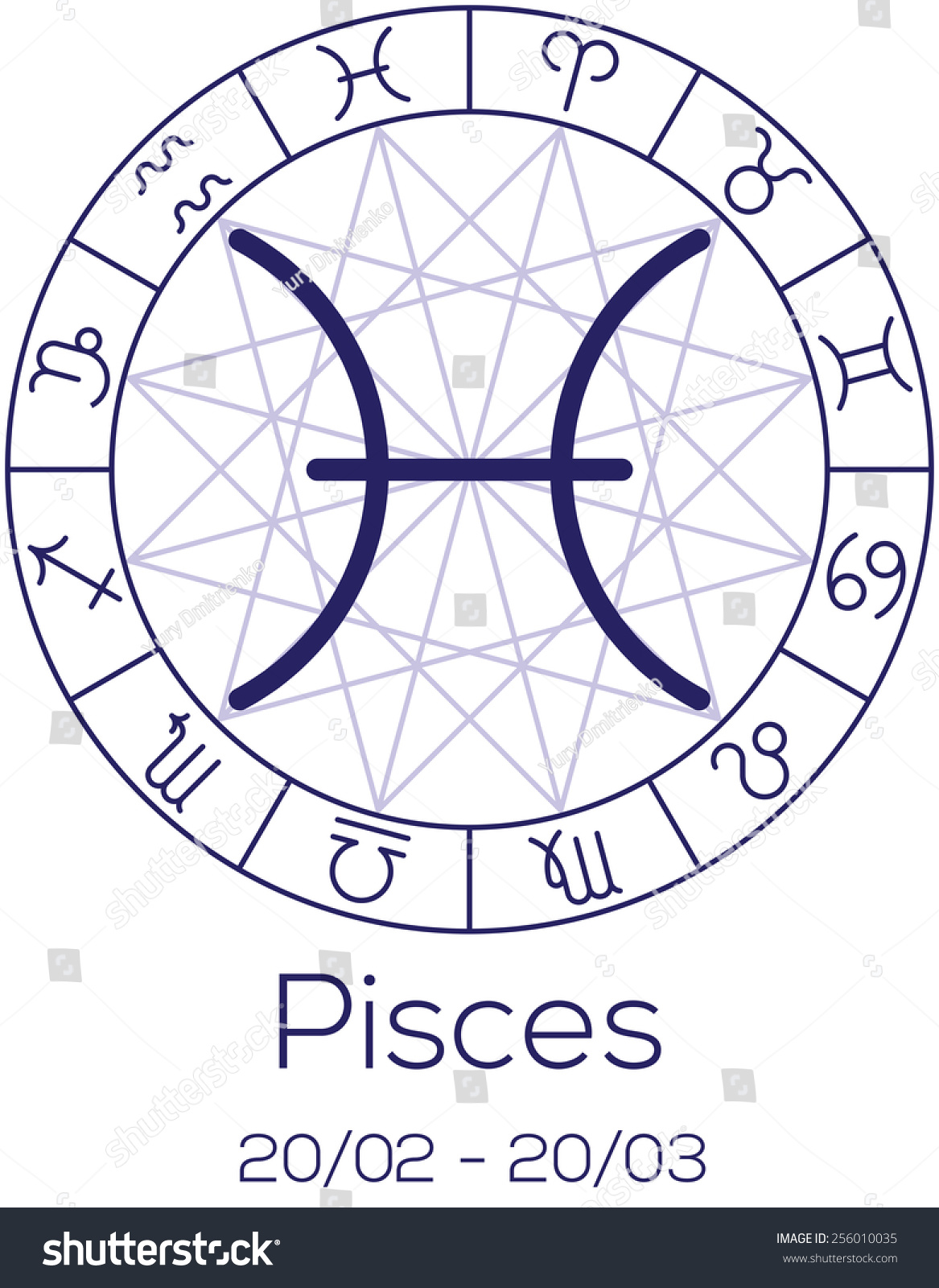 Zodiac sign pisces astrological chart symbols stock vector zodiac sign pisces astrological chart with symbols in wheel with polygonal background deep buycottarizona