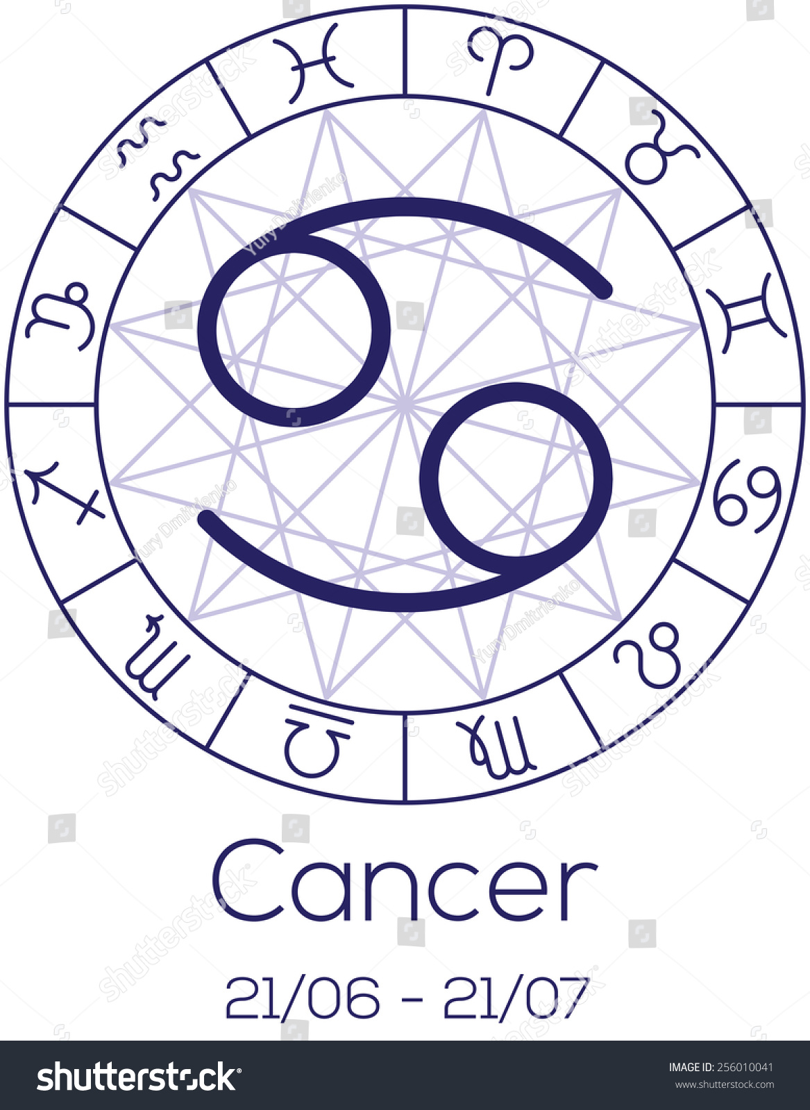 Zodiac sign cancer astrological chart symbols stock vector zodiac sign cancer astrological chart with symbols in wheel with polygonal background deep biocorpaavc Gallery