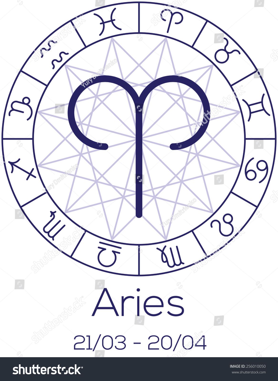 Zodiac Sign Aries Astrological Chart Symbols Stock Vector Royalty