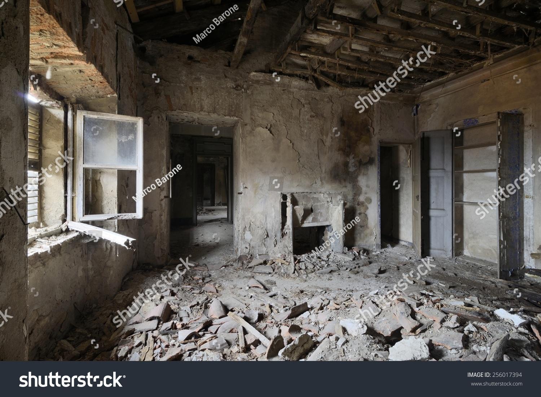 Old Abandoned Room Window Fireplace Stock Photo 256017394