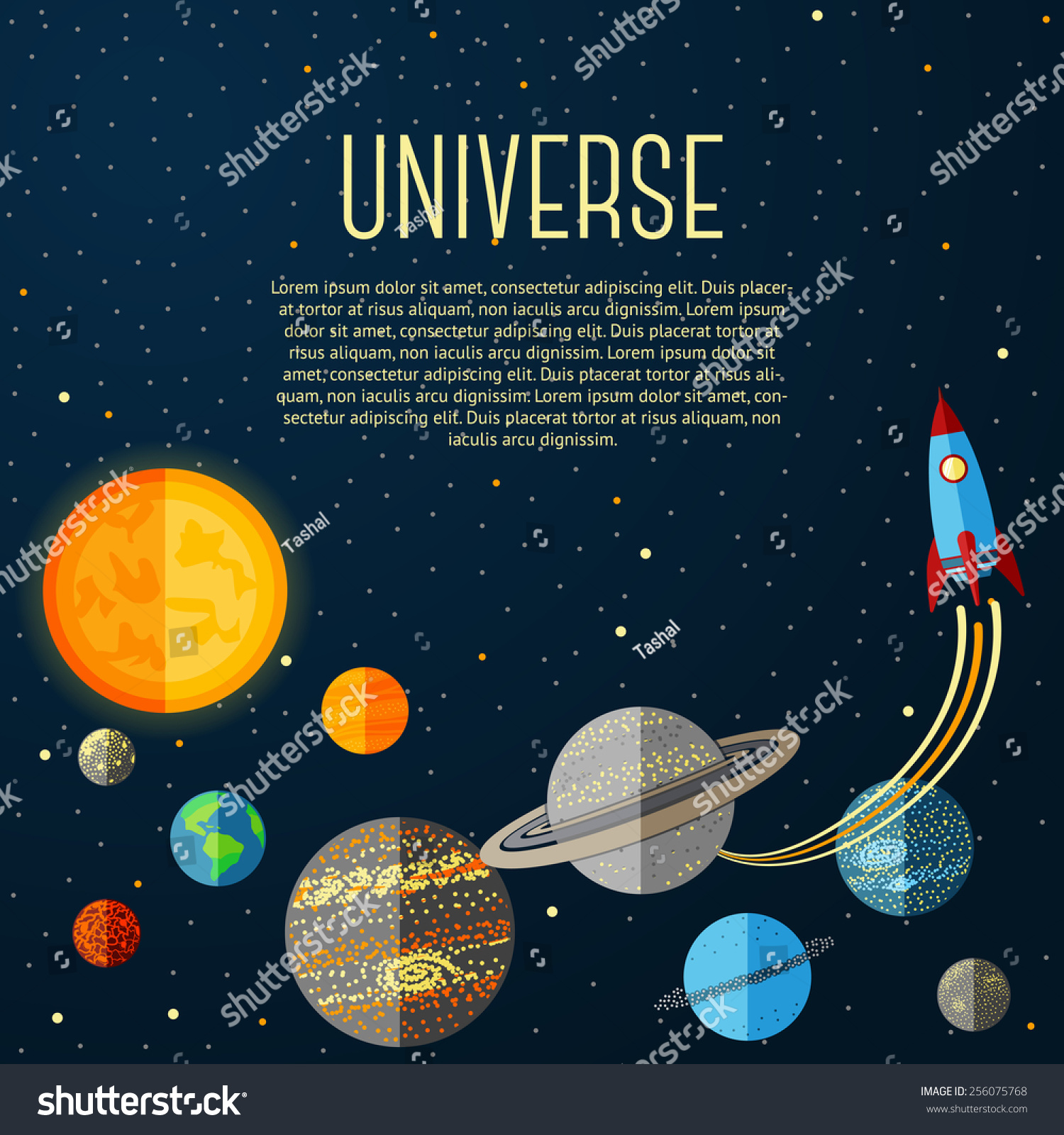 Universe Banner With Solar System, Stars And Space Rocket ...