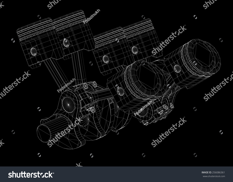 Pistons V 8 Engine Body Structure Wire Stock Illustration 256086361 Diagram Schedule V8 Model