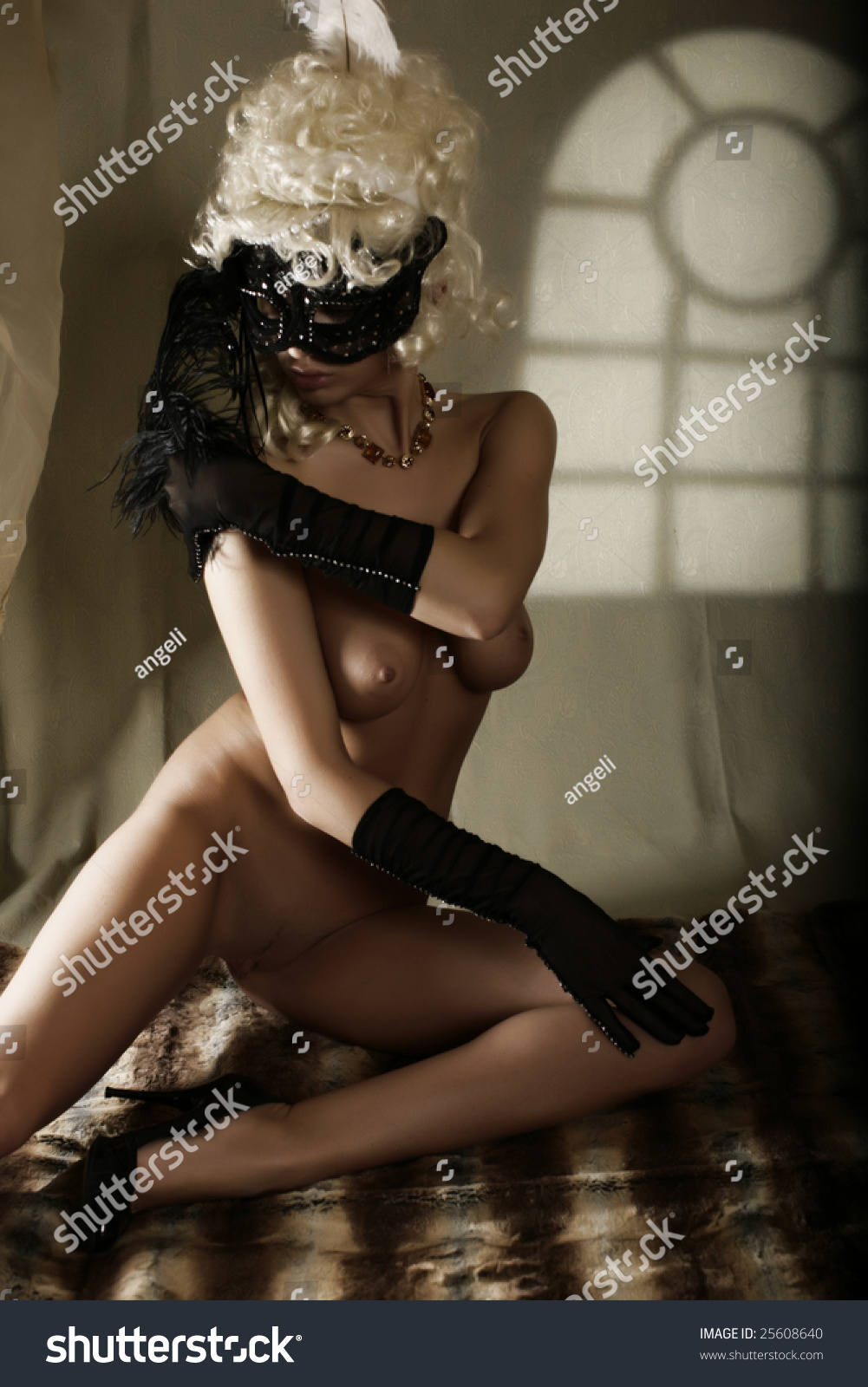 Masked girl posing and spreading in a studio 3d porn backstage 3