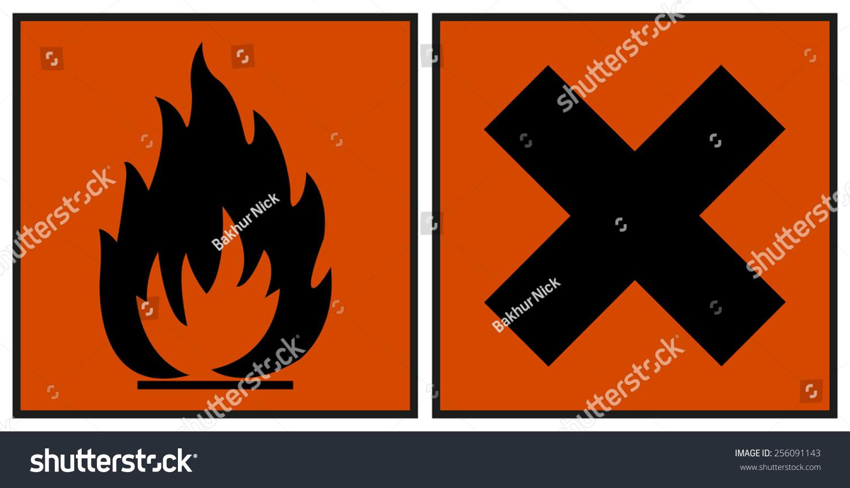 European Hazard Symbols Harmful Extremely Flammable Stock Vector