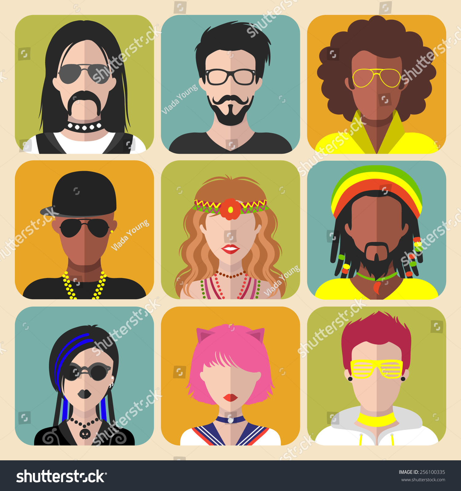 Vector Set Different Subcultures Man Woman Stock Vector