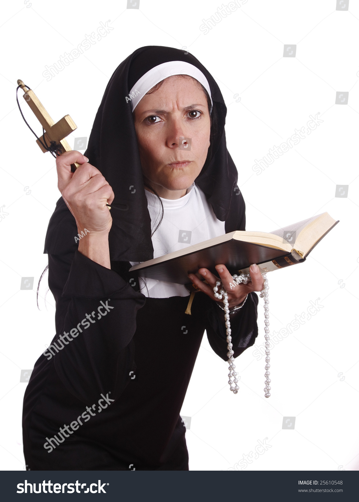 different nun serious funny expression stock photo (100% legal