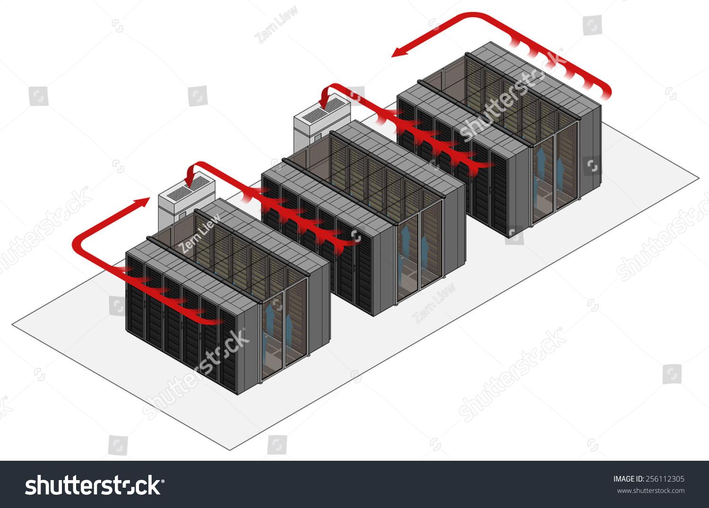 Prime Data Center Hot Cold Aisle Rackcabinet Stock Vektorgrafik Interior Design Ideas Gentotthenellocom