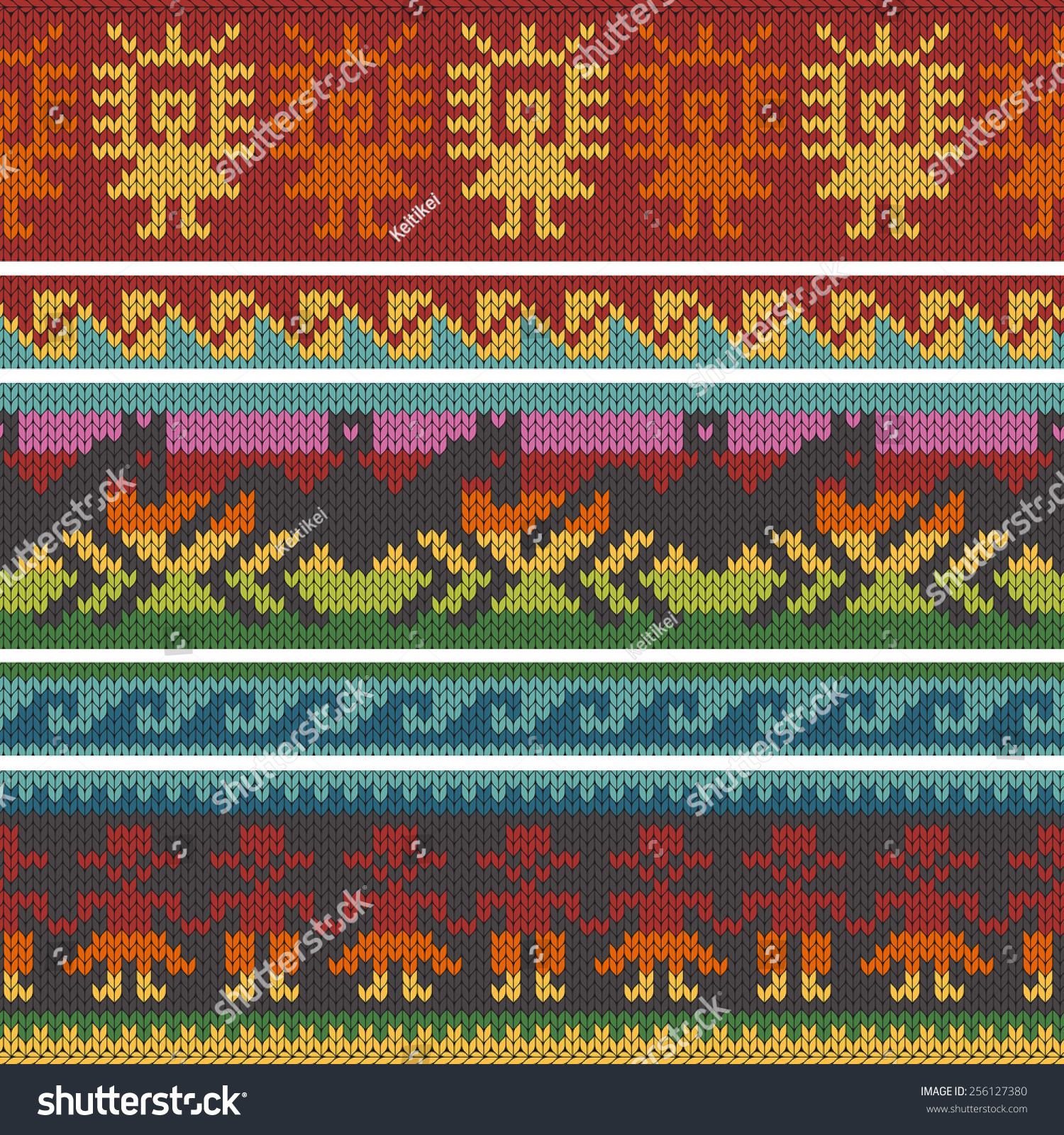 Seamless Vector Borders Andean Knitting Patterns Stock Vector ...