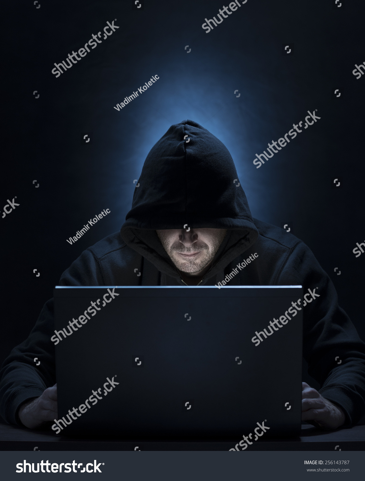 Hooded Man On Computer Hackingspyinginternet Security Stock Photo ...
