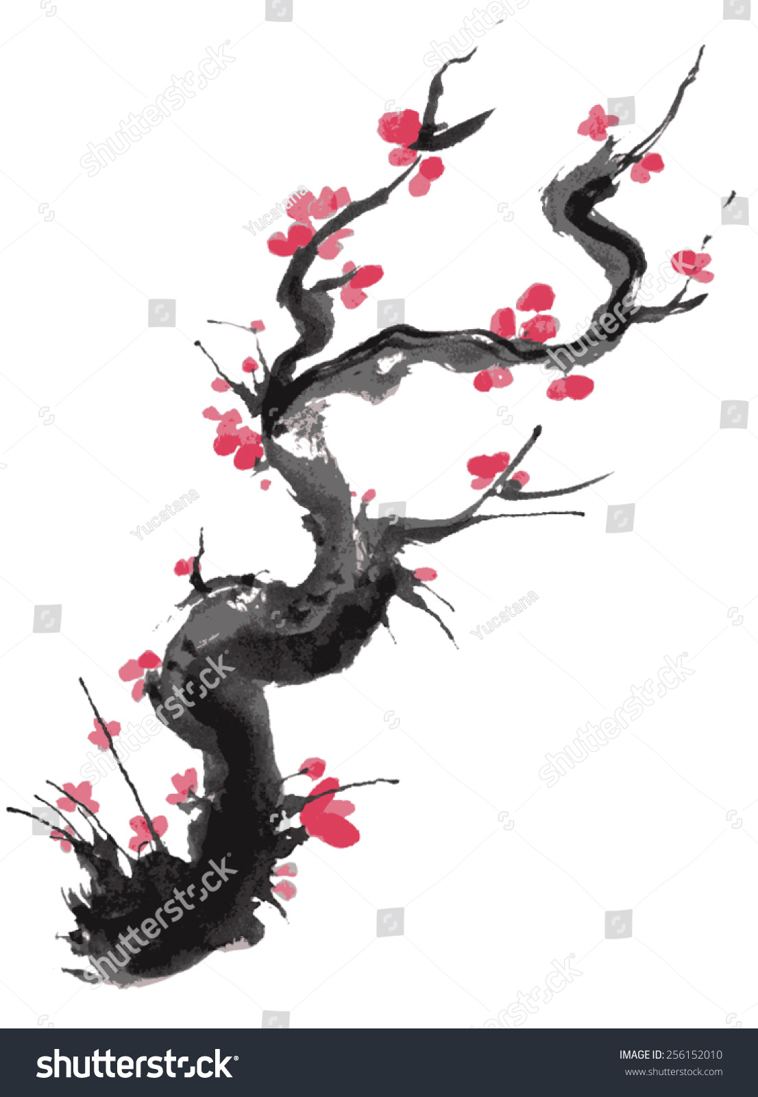 Realistic Sakura Blossom Japanese Cherry Tree Stock Vector ...