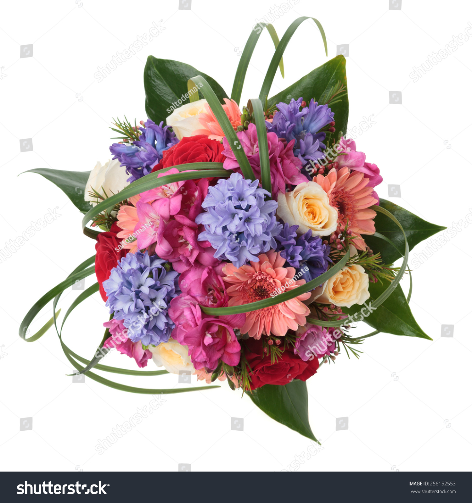 Wedding bouquet made of hyacinth rose gerber freesia and lilac save to a lightbox dhlflorist Choice Image