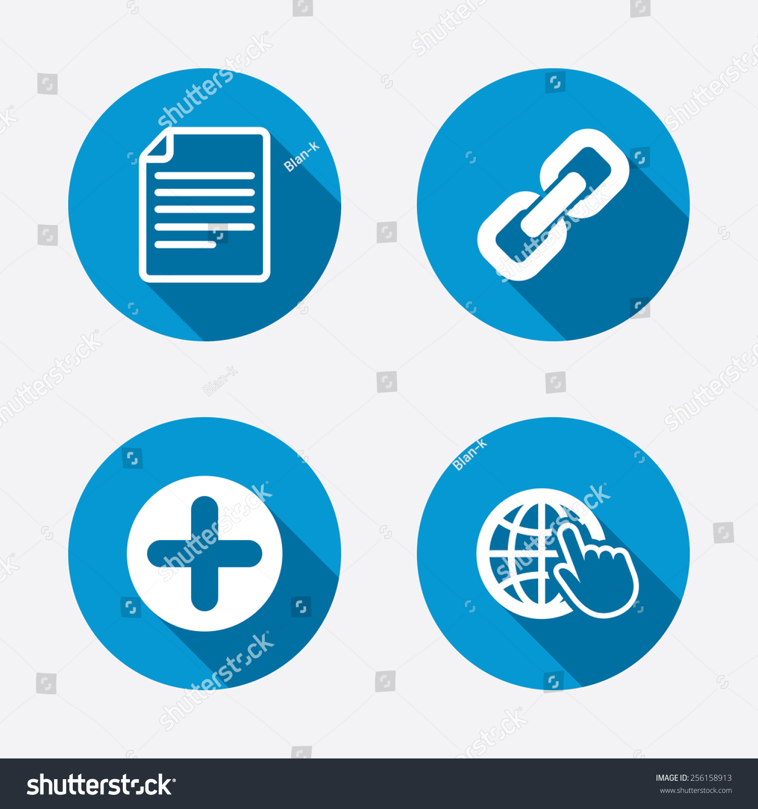 Plus Add Circle And Hyperlink Chain Icons. Document File ...