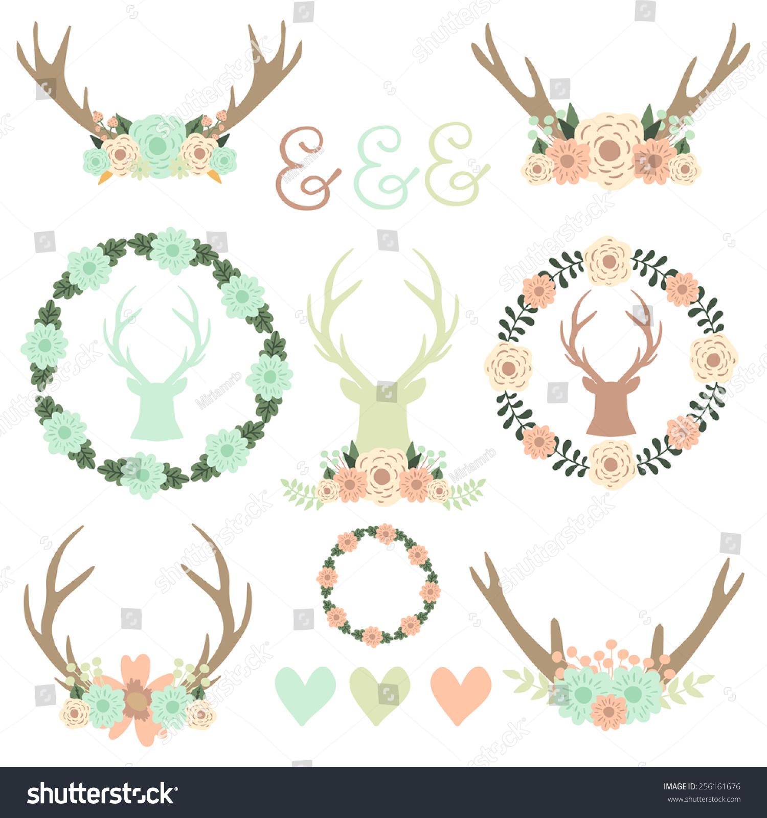 Set Reindeer Antlers Floral Frames Reindeer Stock Vector (Royalty ...