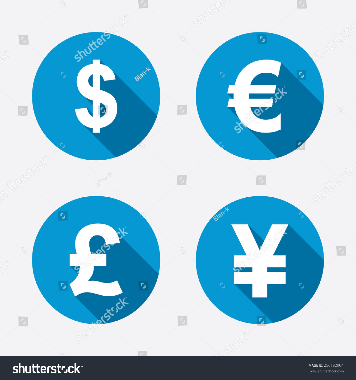 Dollar euro pound yen currency icons stock vector 256182904 dollar euro pound and yen currency icons usd eur gbp and biocorpaavc Gallery