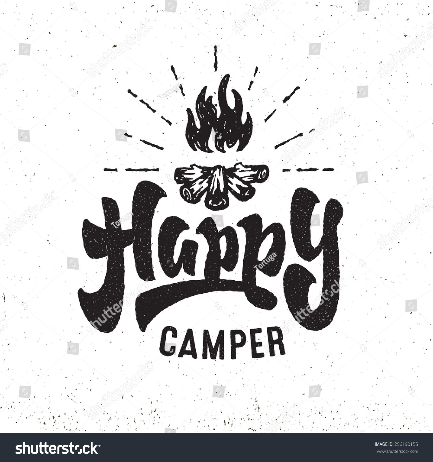 Happy Camper Vintage Hand Lettered Badge Stock Vector Royalty Free
