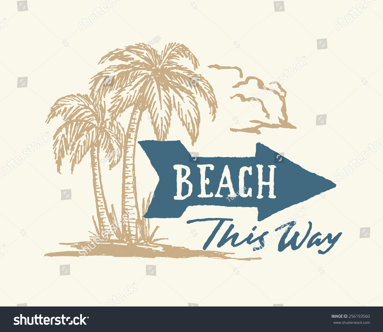 Vintage Hand Drawn Beach Sign With Arrow And Palm Trees Ink Drawing