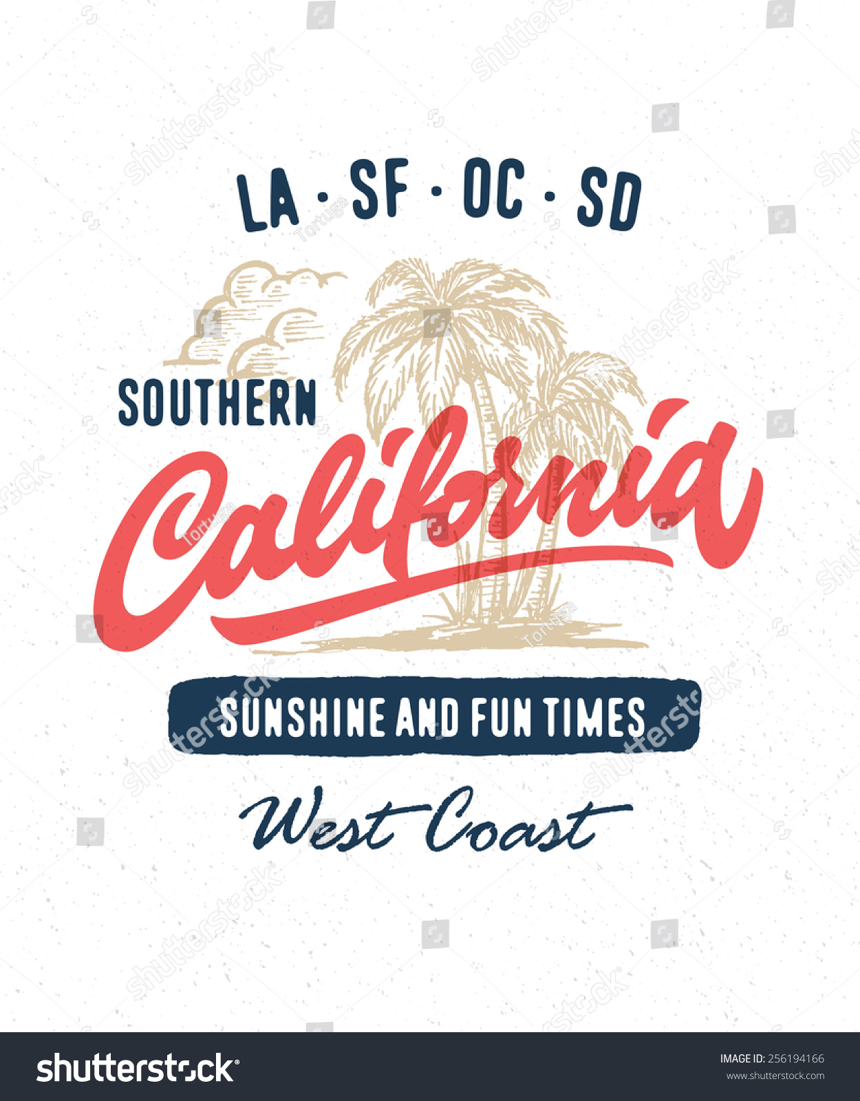 Hand Lettered Southern California Apparel T Stock Vector