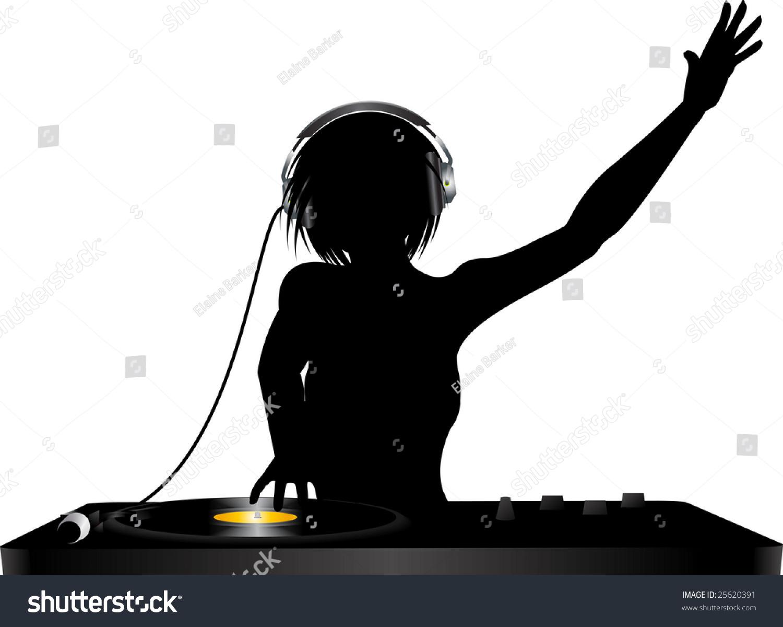 female silhouette dj mixing on record deck stock vector disco ball clip art free disco ball clipart vector
