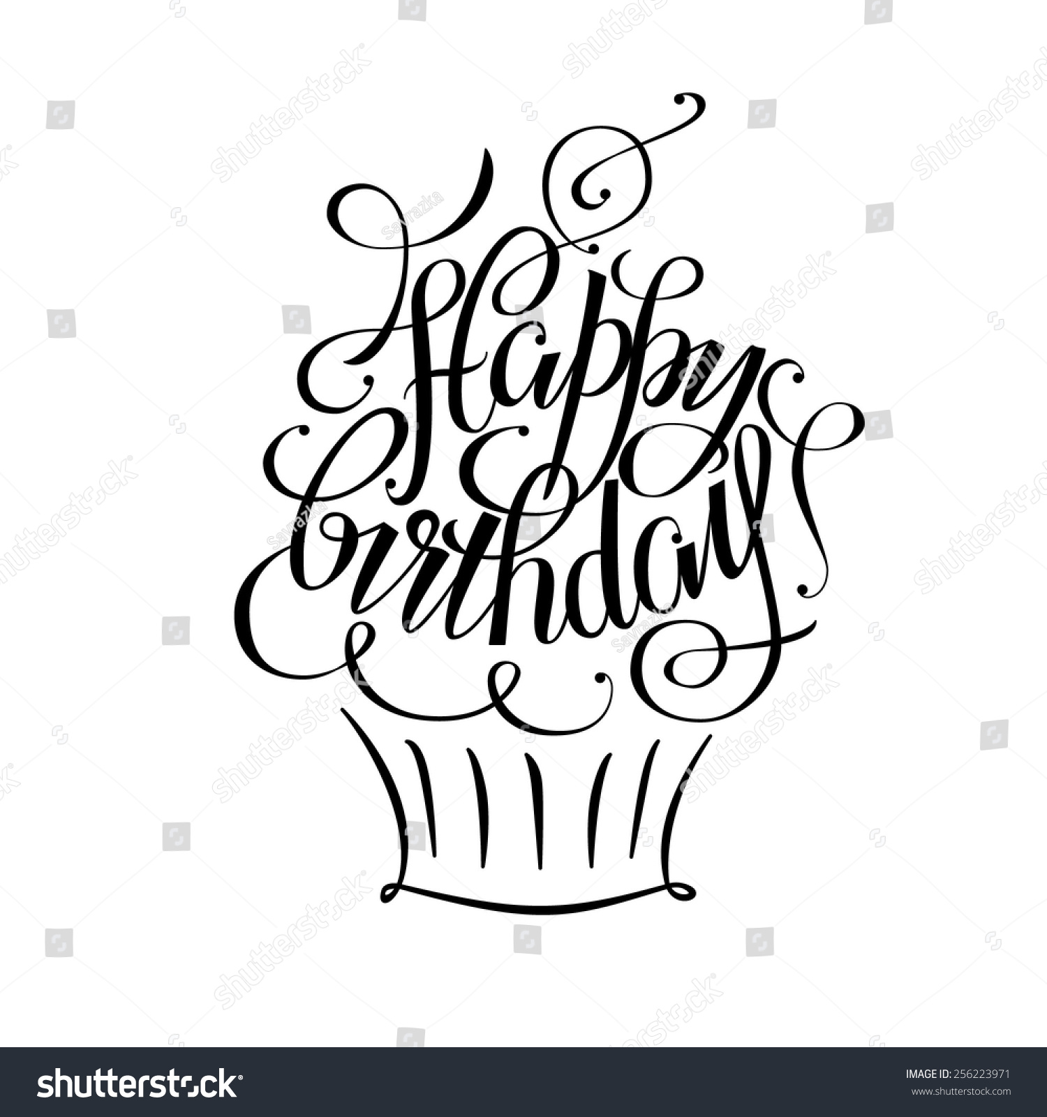 Postcards birthday happy birthday hand lettering stock Images of calligraphy