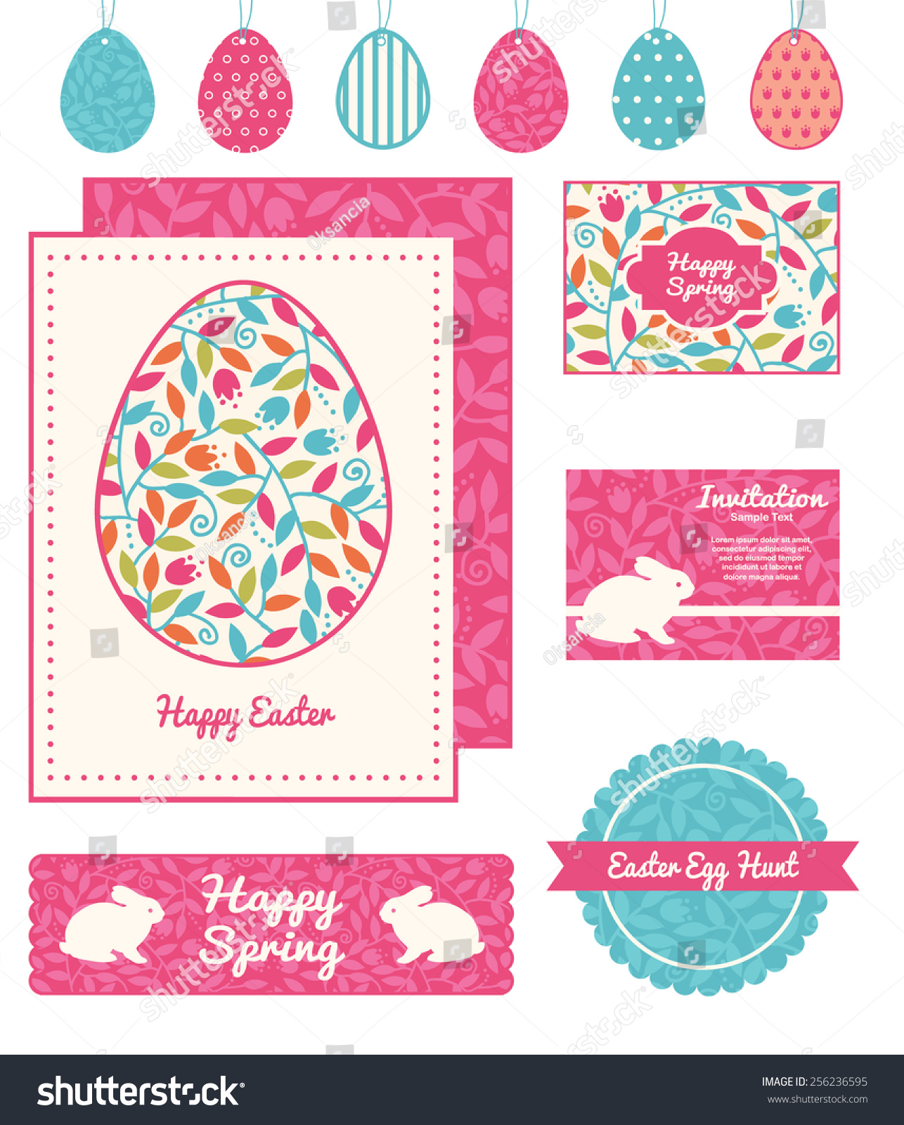 Vector Colorful Branches Set Easter Cards Vector 256236595 – Sample Easter Postcard Template
