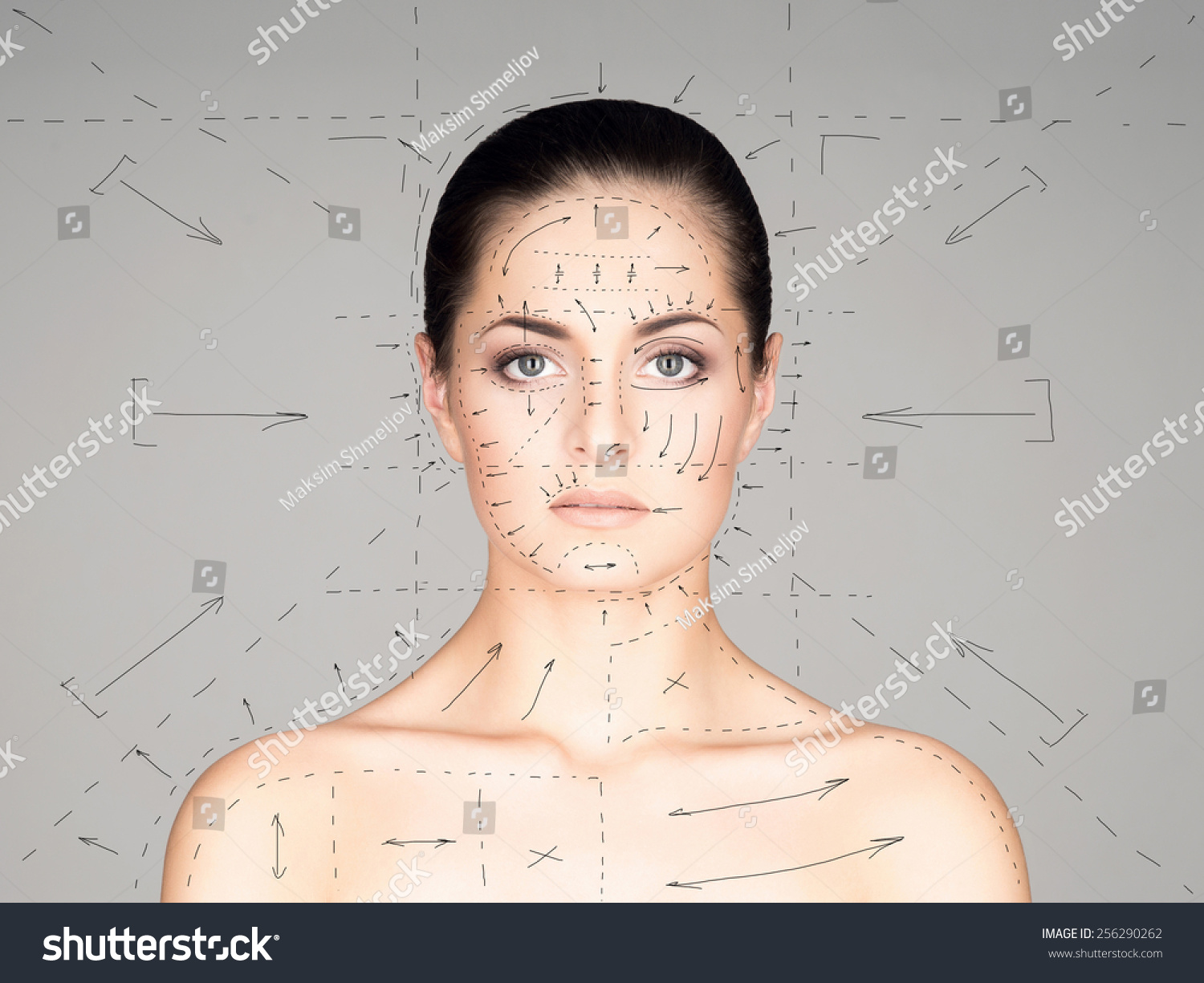 Close-up portrait of young beautiful and healthy woman ready for plastic surgery treatment collage with drawing arrows