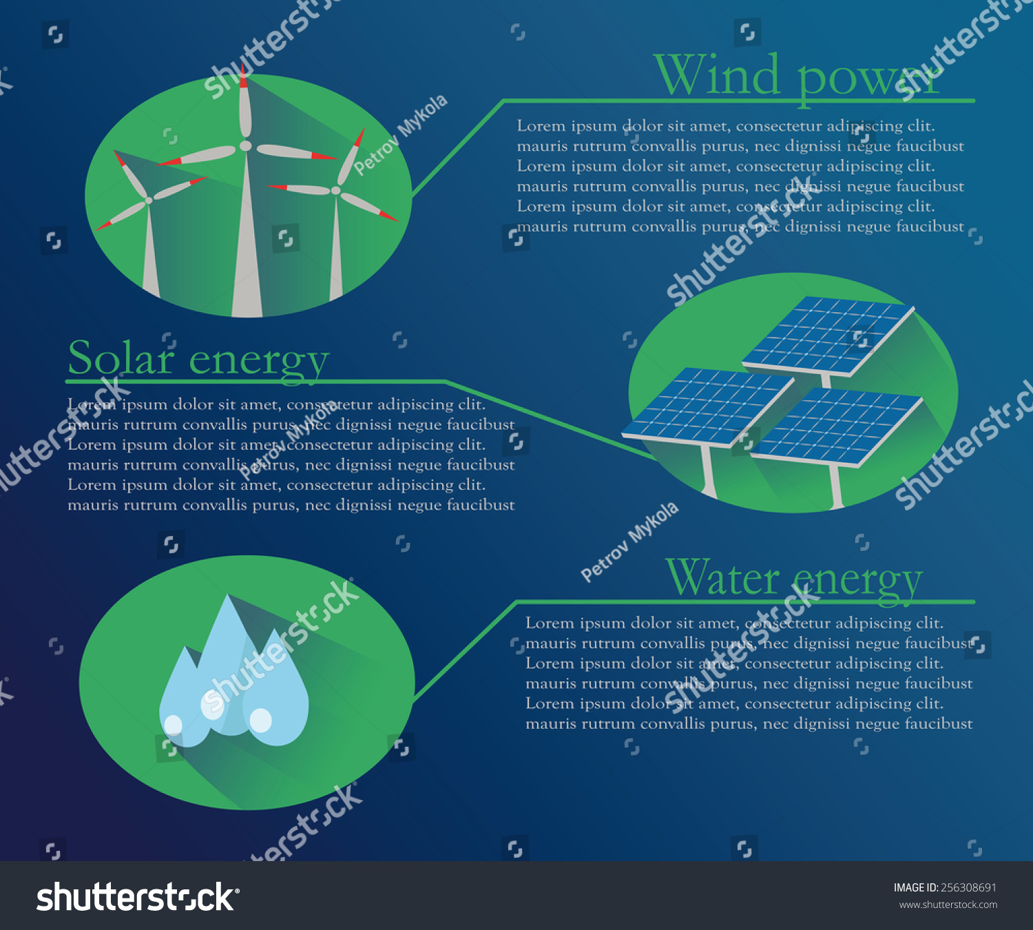 Worksheet 3 Types Of Alternative Energy description three types alternative energy such stock vector of the as wind power solar and