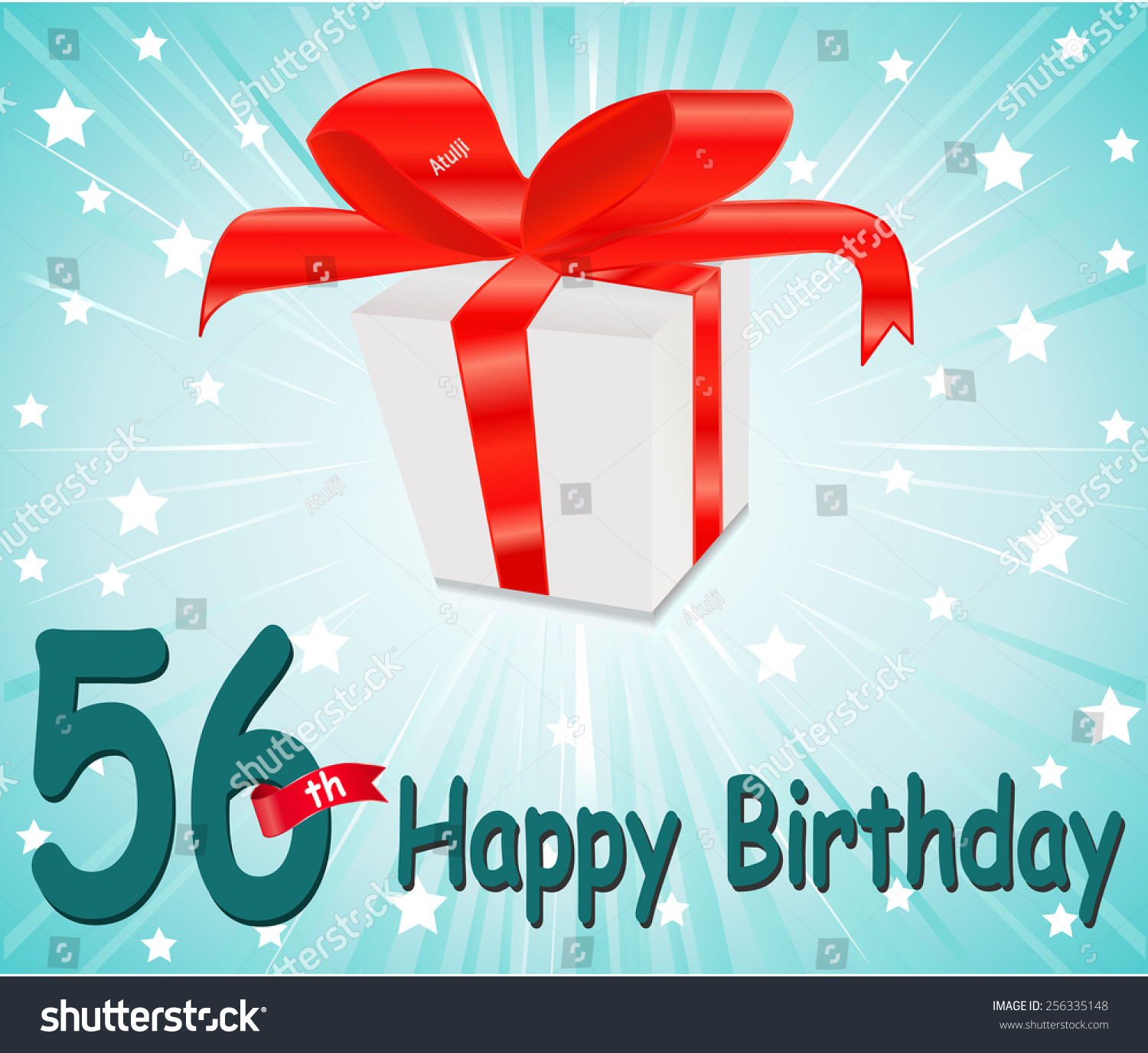 56 Year Happy Birthday Card With Gift And Colorful Background In Vector EPS10