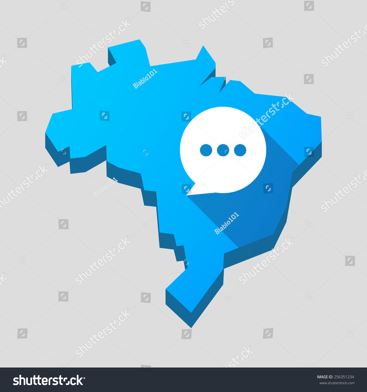 Illustration Blue Brazil Map Comic Balloon Stock Vector - Brazil map illustration