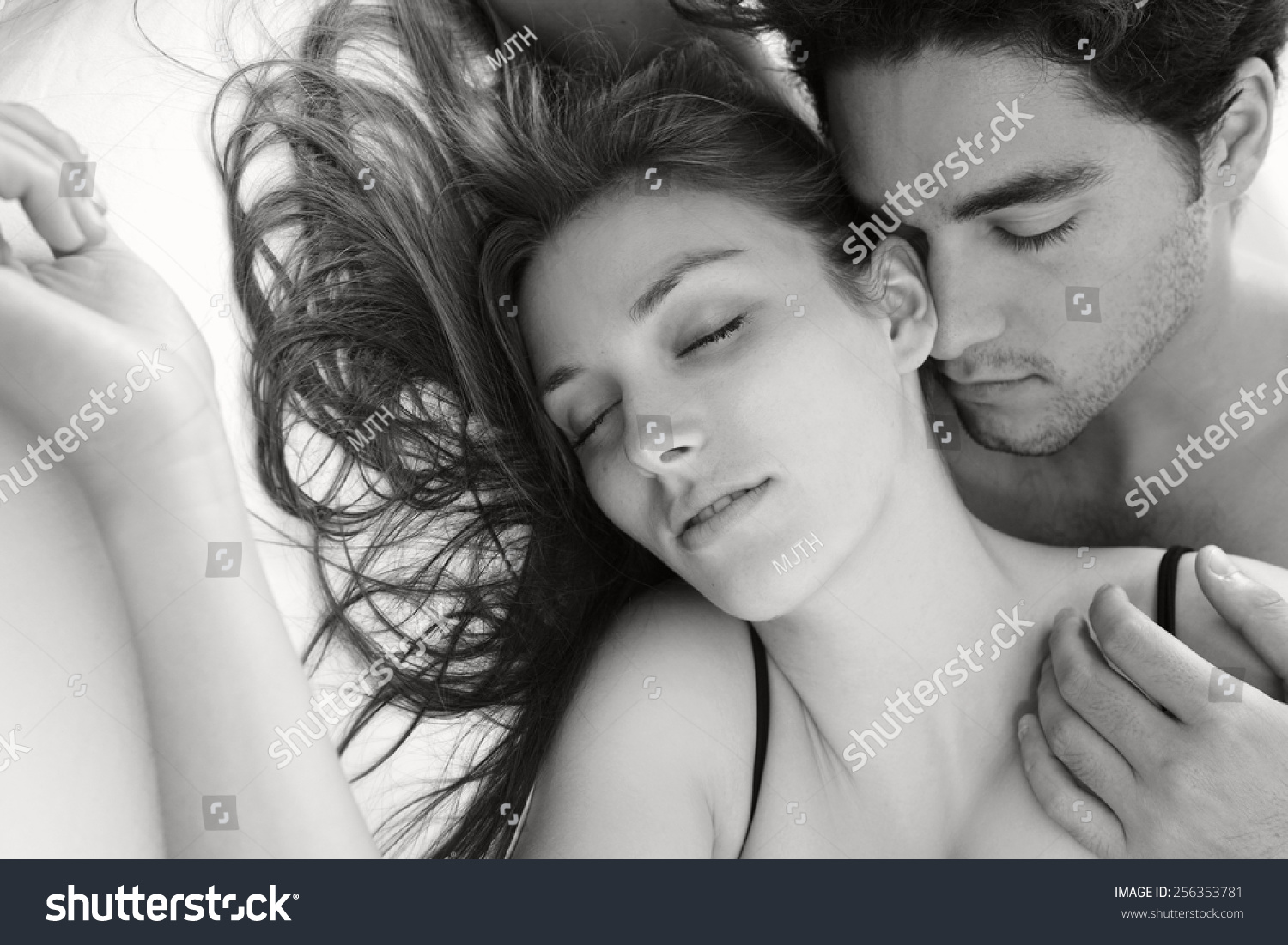 Black white portrait young attractive romantic stock photo edit now