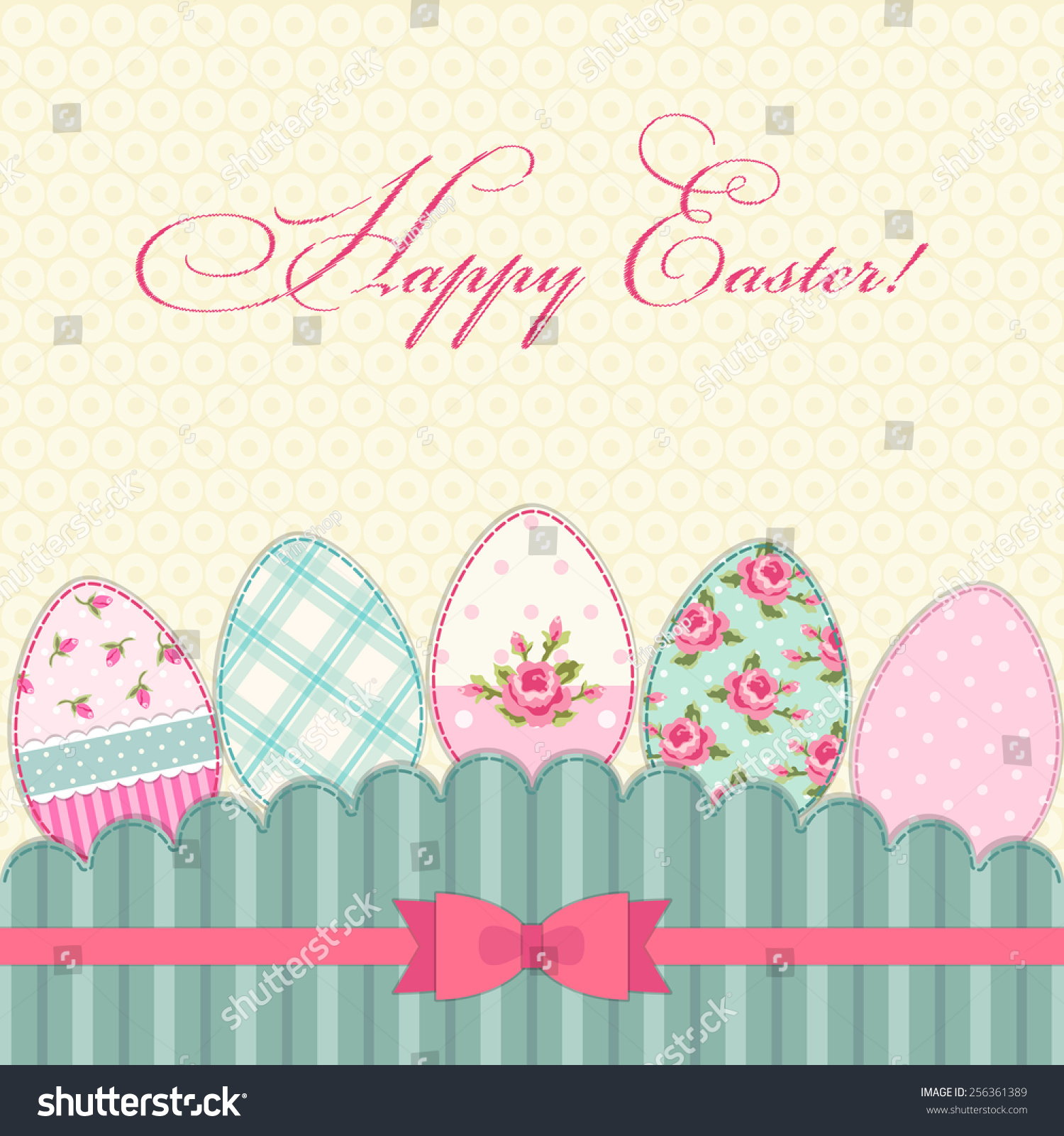 Cute vintage happy easter greeting card stock illustration 256361389 cute vintage happy easter greeting card with patch fabric applique of eggs in shabby chic style m4hsunfo