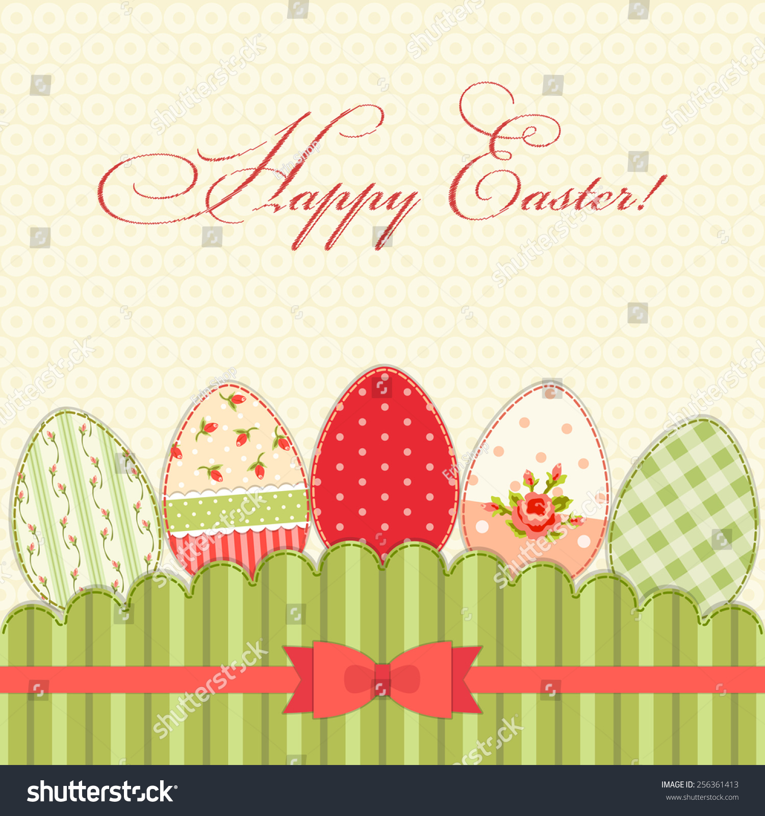 Cute vintage happy easter greeting card stock illustration 256361413 cute vintage happy easter greeting card with patch fabric applique of eggs in shabby chic style m4hsunfo