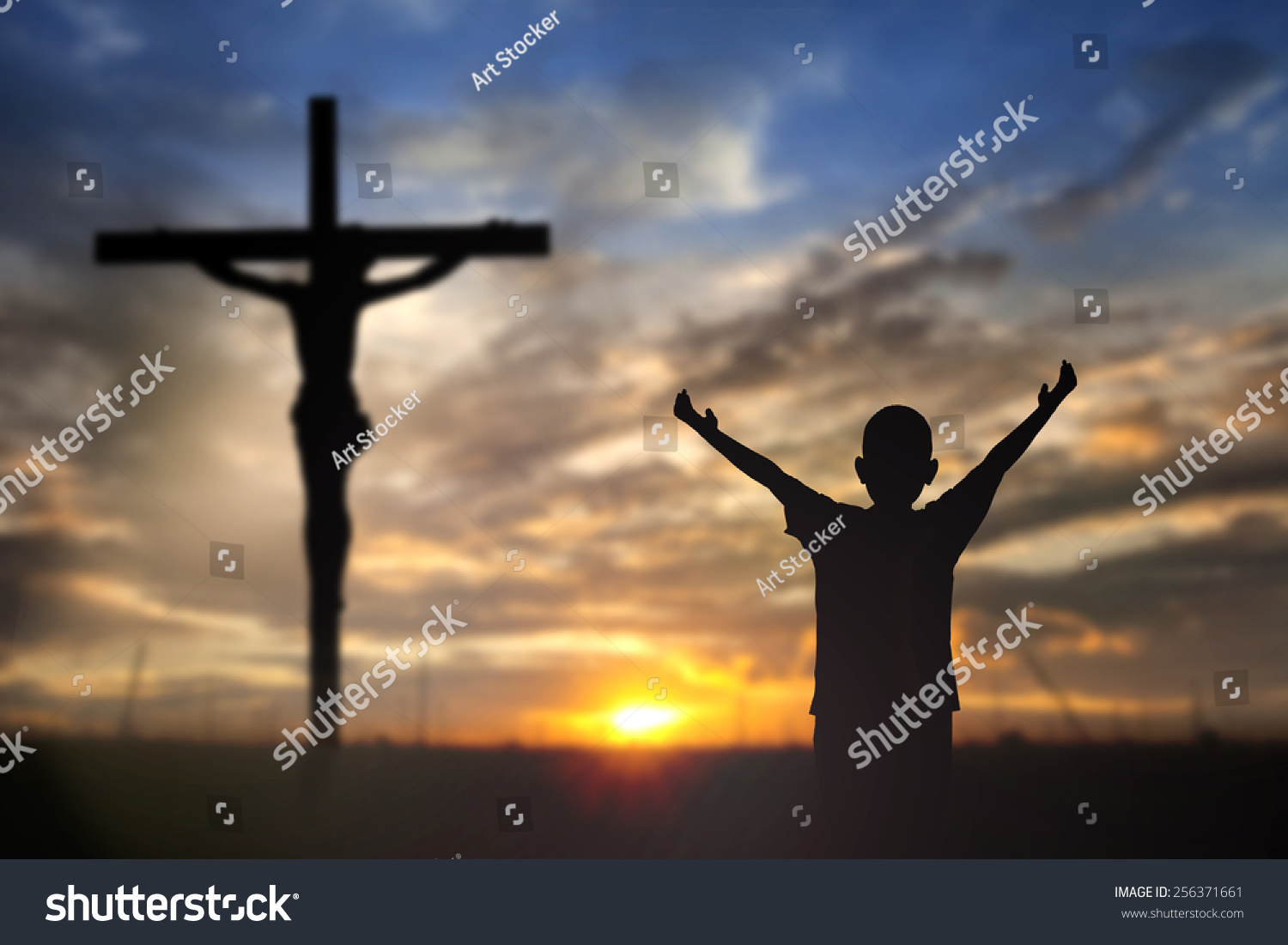 silhouette jesus christ on cross background stock photo 256371661
