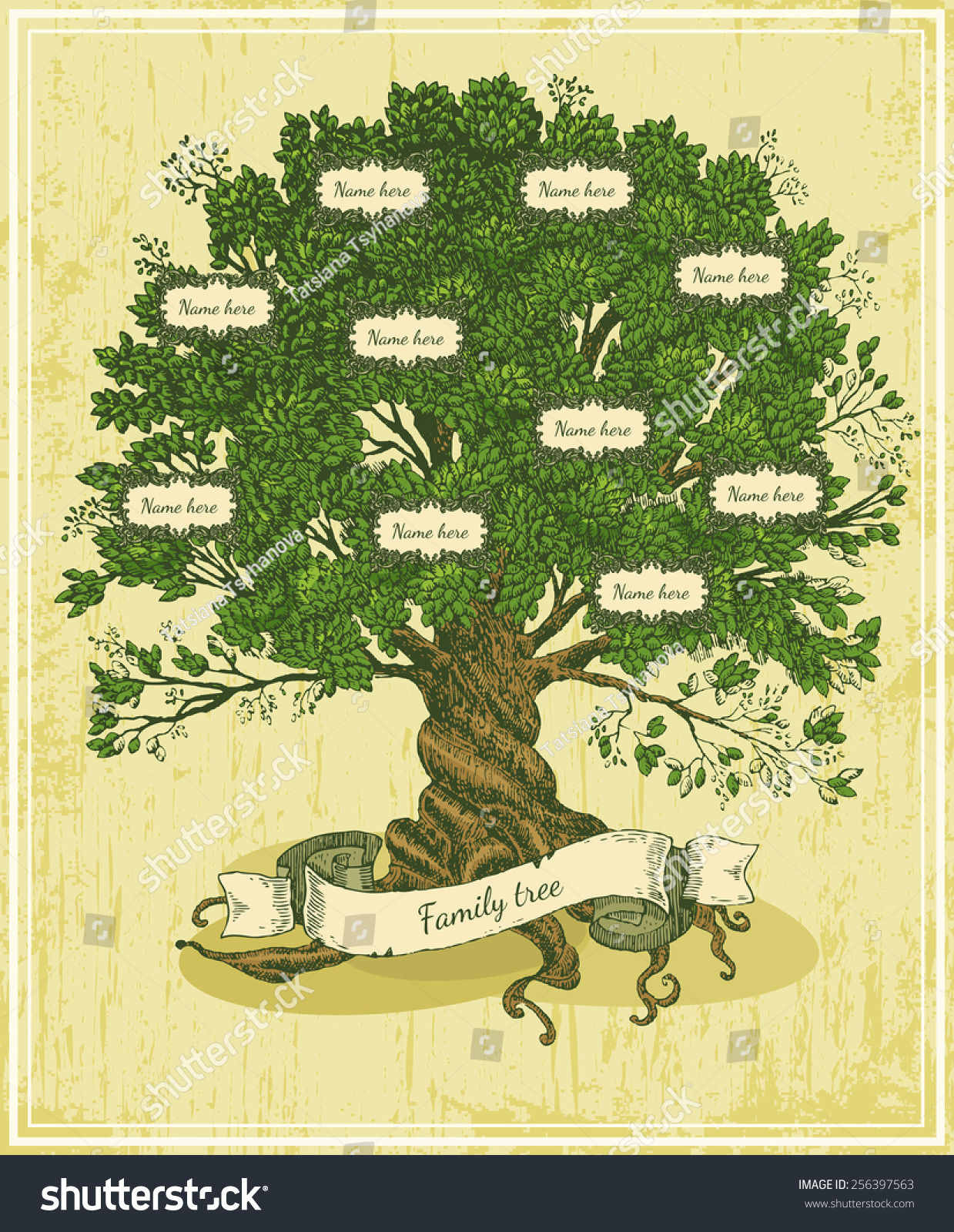 Genealogical tree on old paper background stock vector - Family tree desktop wallpaper ...