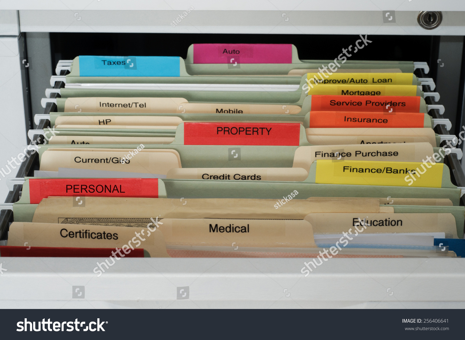 Hanging Files For Filing Cabinets Personal House Documents Organization Hanging Files Stock Photo