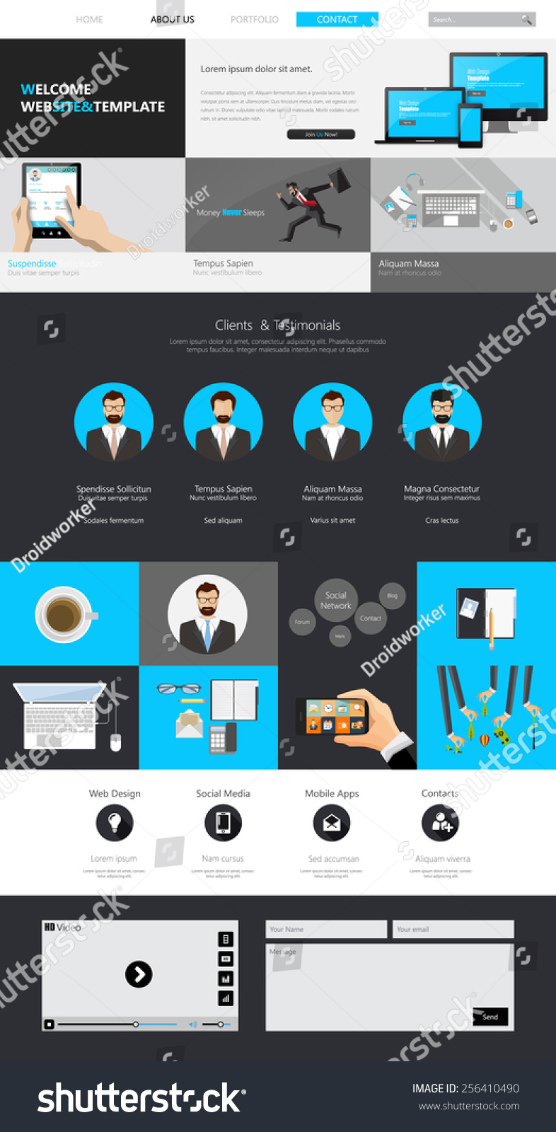 One Page Website Design Template All Stock Vector 256410490 ...