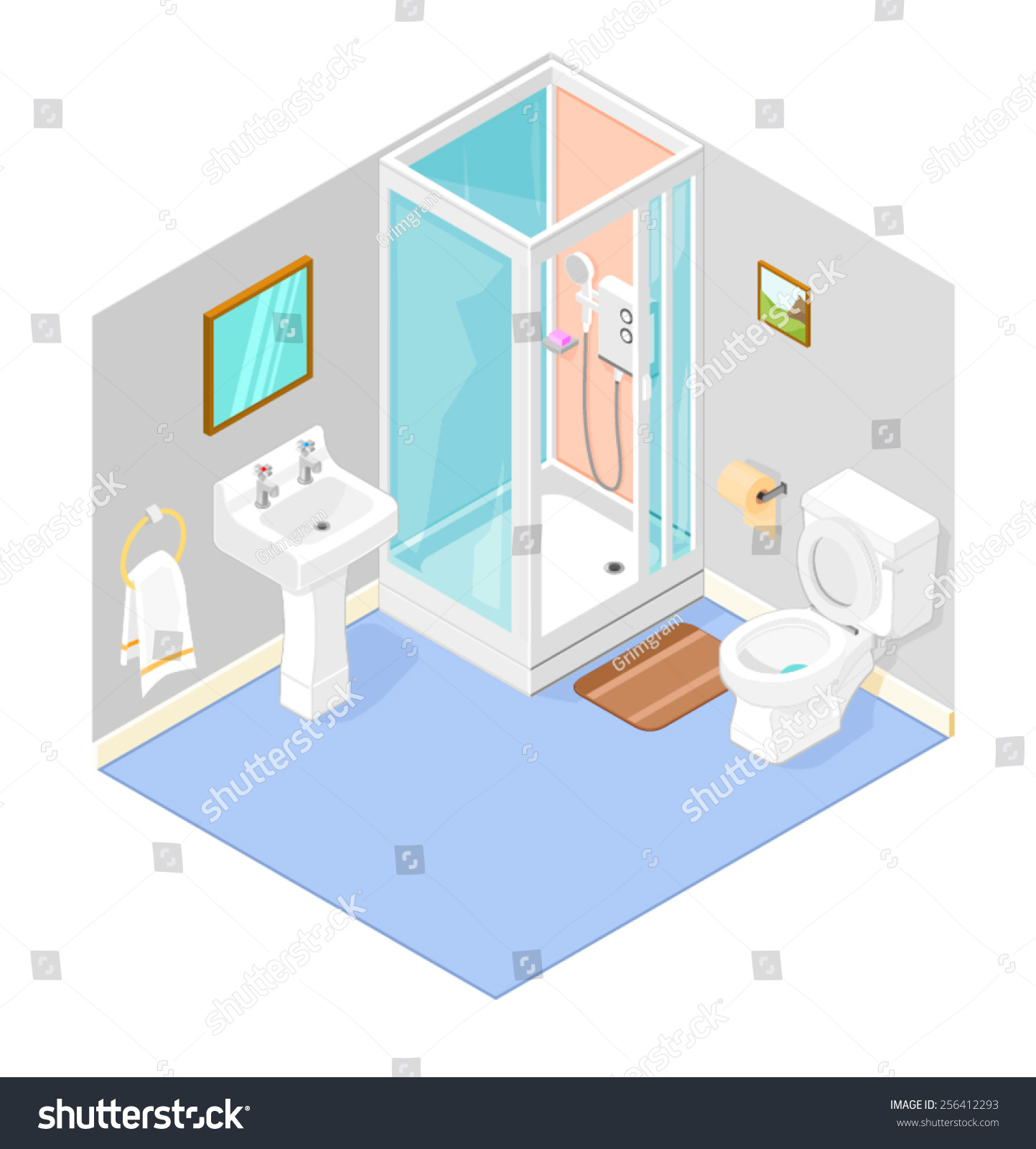 Isometric Bathroom Interior Shower Isometric Bathroom