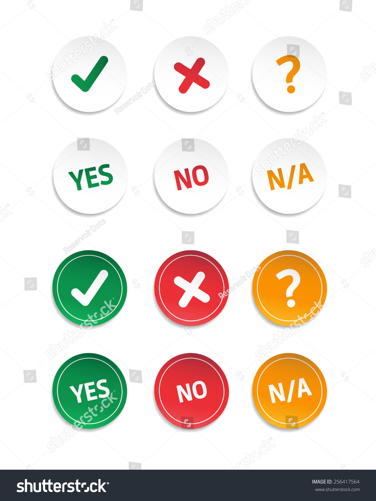 Choice Yes No Na Stickers Stock Vector 256417564
