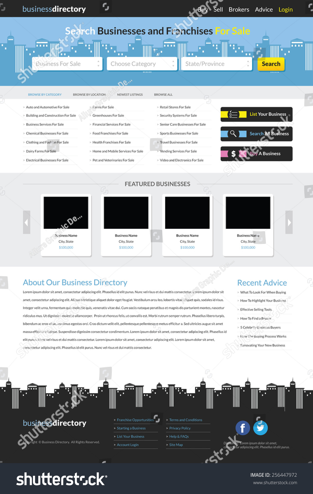 Business directory website template stock vector 256447972 business directory website template cheaphphosting Image collections