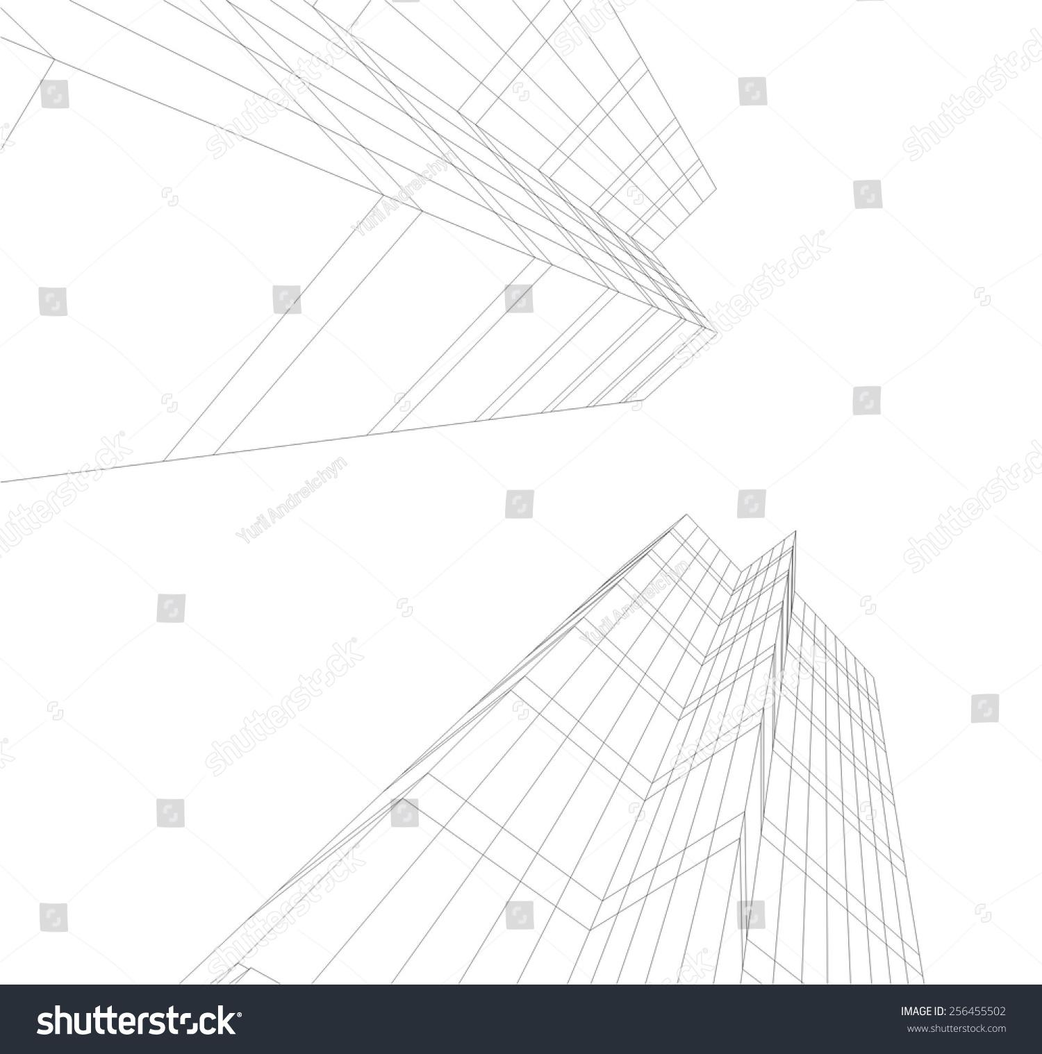 Modern Architectural Drawing Architecture Background Skyscraper