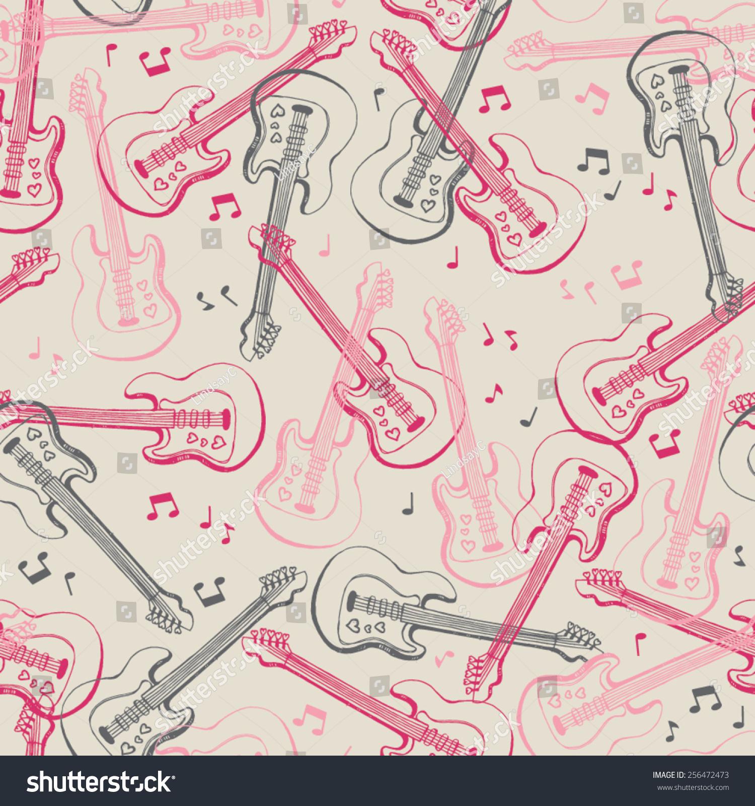 Love Rock Roll Seamless Repeat Wallpaper Stock Vector Royalty