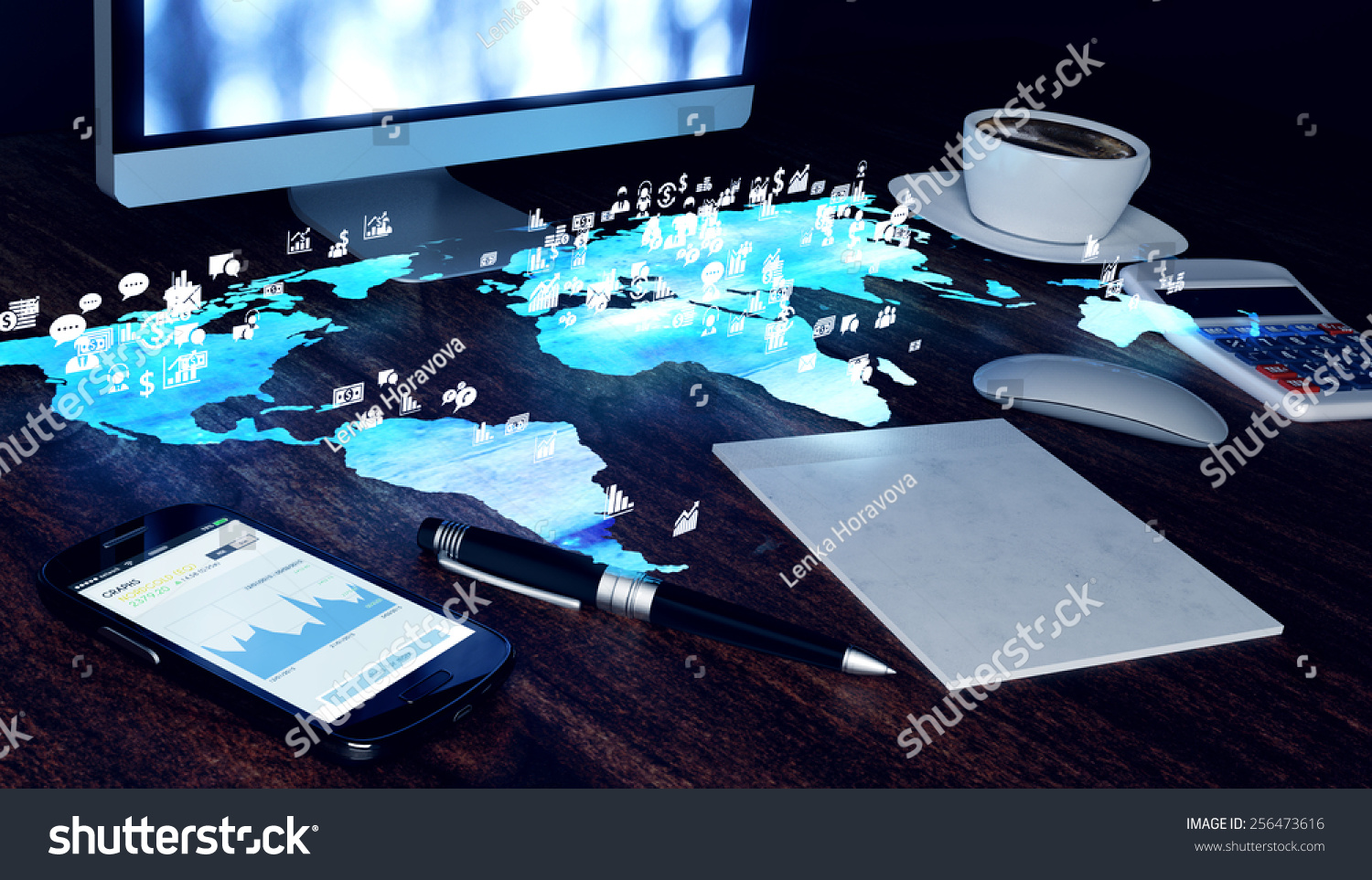 Future Office Concept Smartphone Notepad Pen Stock Illustration Circuitry Of An Electronic Calculator Royalty Free Photography Coffee Cup Computer