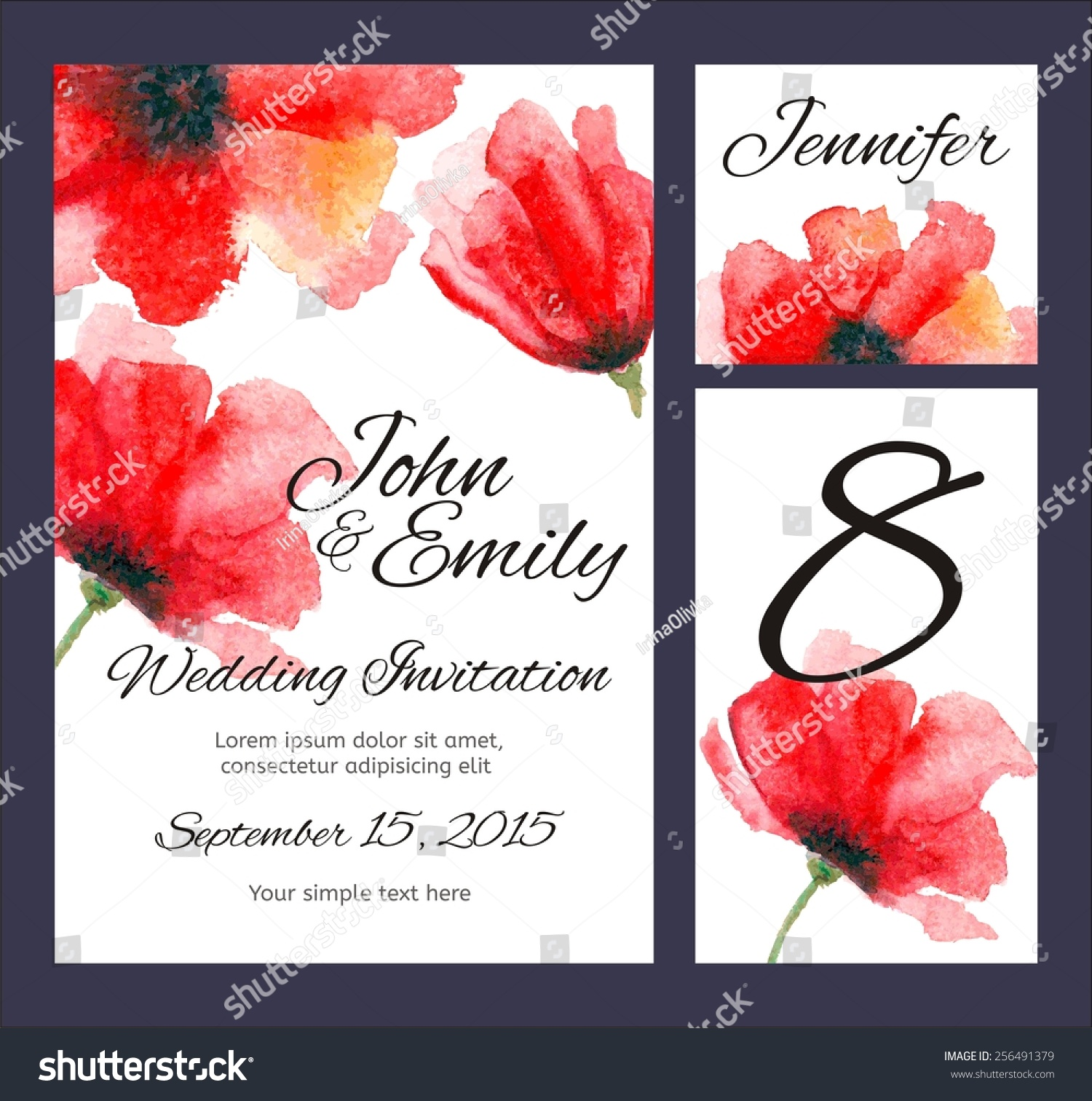 Set Backgrounds Celebrate Wedding Watercolor Poppies Stock Vector ...