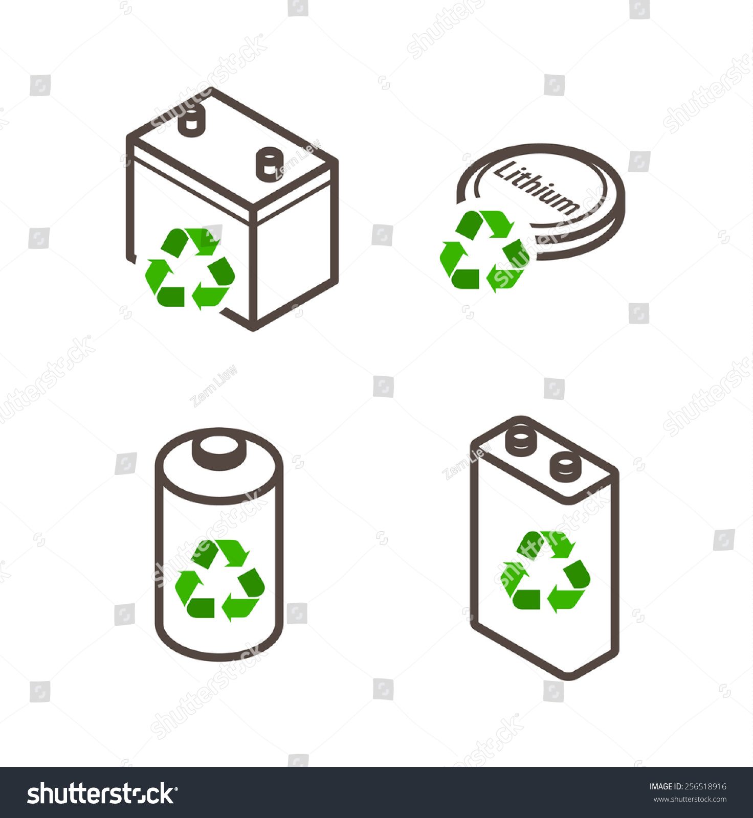 Recycling icons dry cell battery lead stock vector 256518916 recycling icons dry cell battery lead acid battery lithium battery biocorpaavc Images