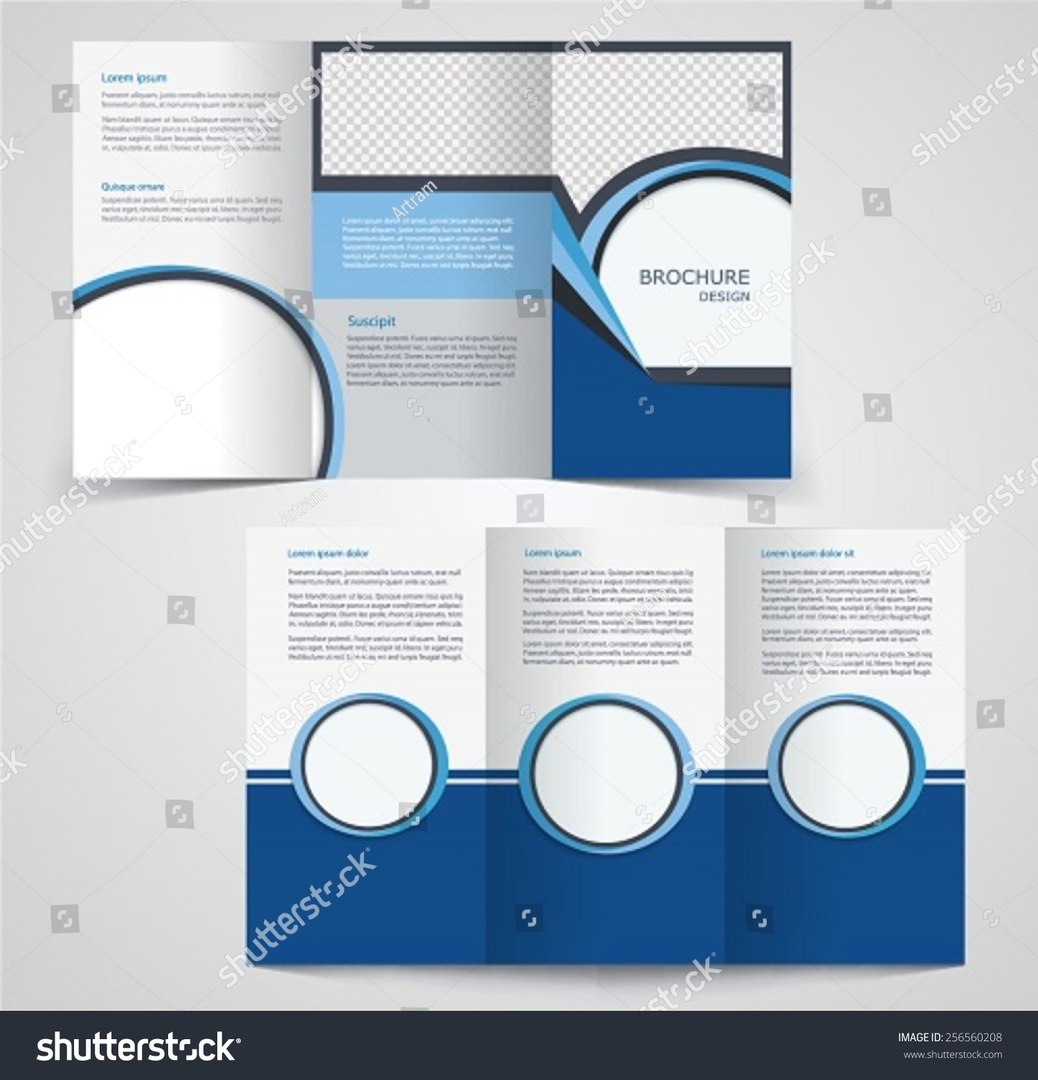 Trifold business brochure template twosided template stock for Double sided brochure template